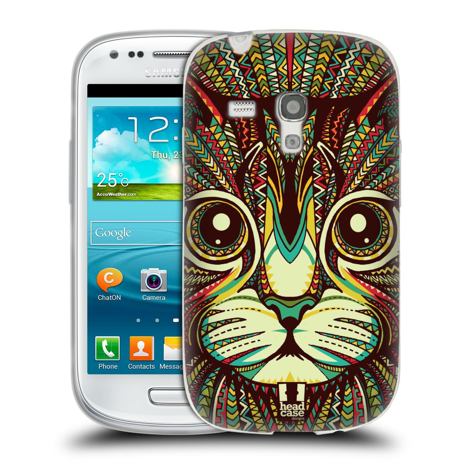 HEAD CASE silikonový obal na mobil Samsung Galaxy S3 MINI i8190 vzor Aztécký motiv zvíře 2 kotě