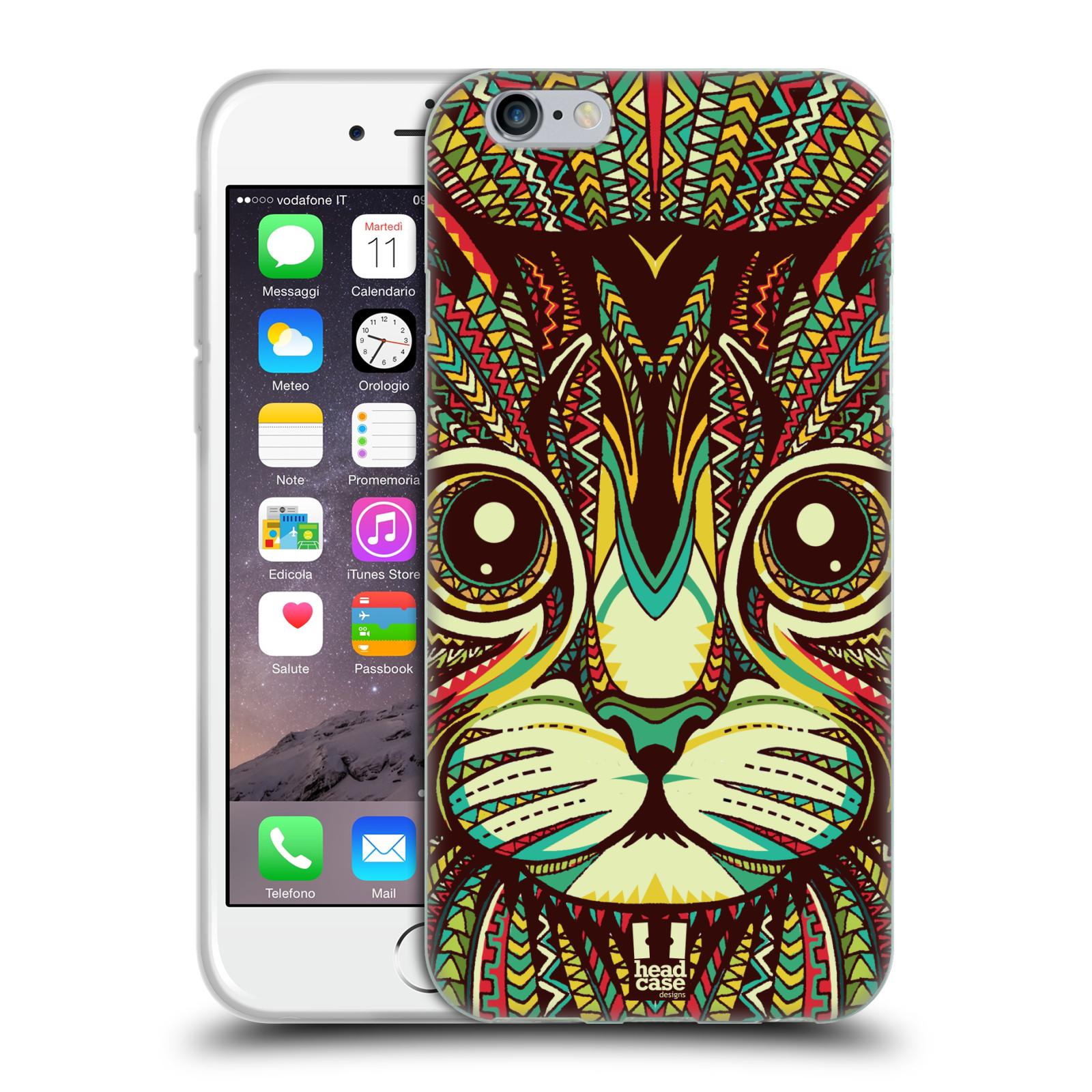 HEAD CASE silikonový obal na mobil Apple Iphone 6/6S vzor Aztécký motiv zvíře 2 kotě