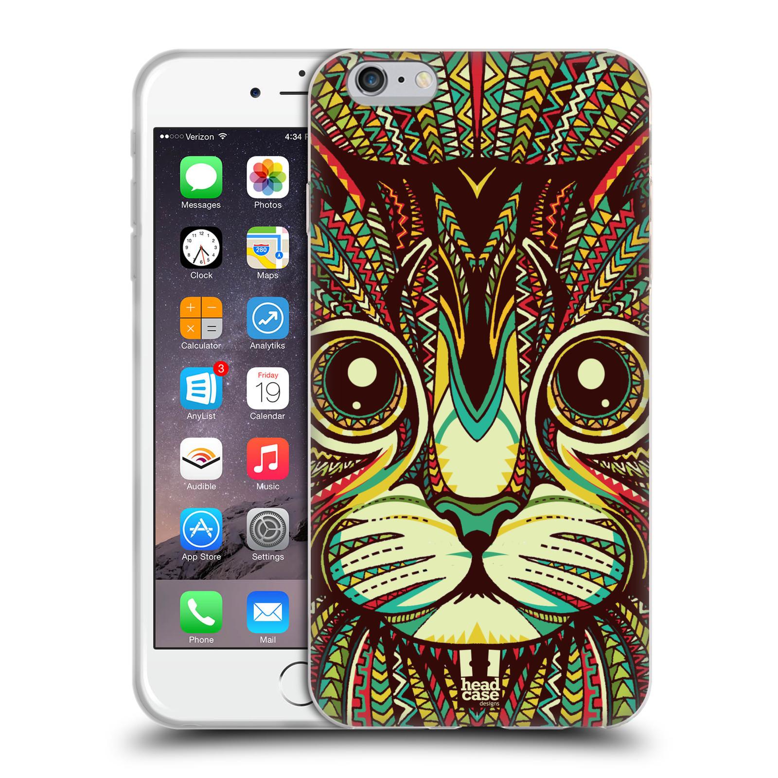 HEAD CASE silikonový obal na mobil Apple Iphone 6 PLUS/ 6S PLUS vzor Aztécký motiv zvíře 2 kotě