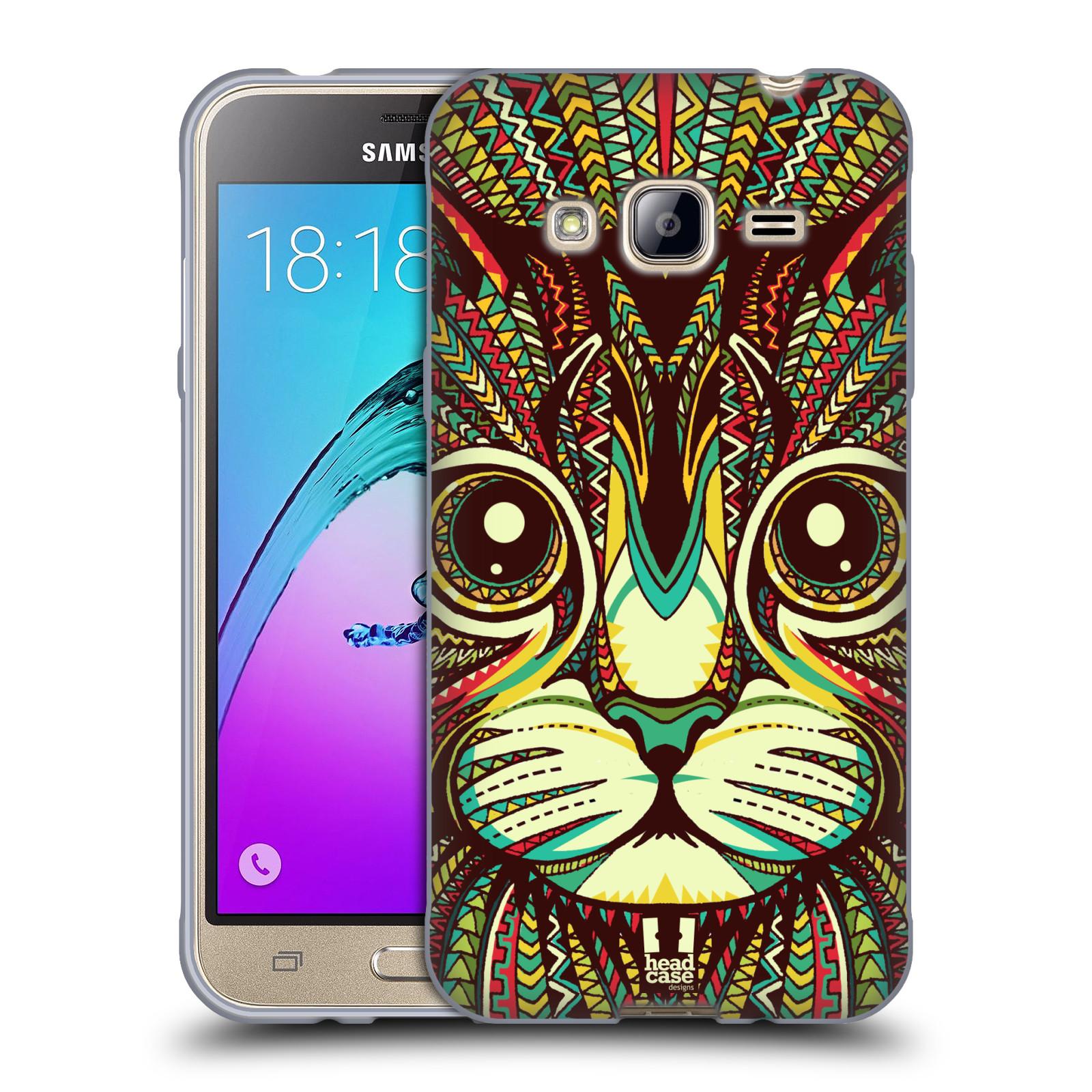 HEAD CASE silikonový obal na mobil Samsung Galaxy J3, J3 2016 vzor Aztécký motiv zvíře 2 kotě