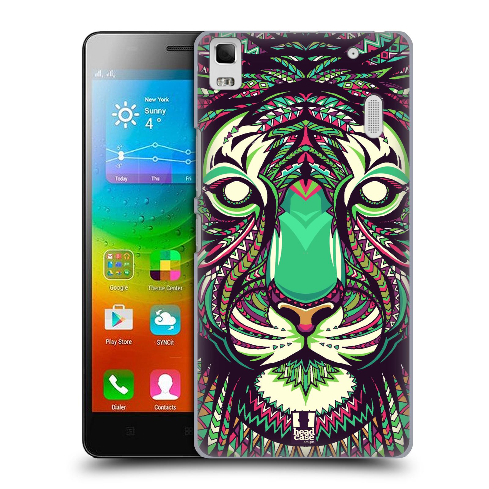 HEAD CASE pevný plastový obal na mobil LENOVO A7000 / A7000 DUAL / K3 NOTE vzor Aztécký motiv zvíře 2 tygr