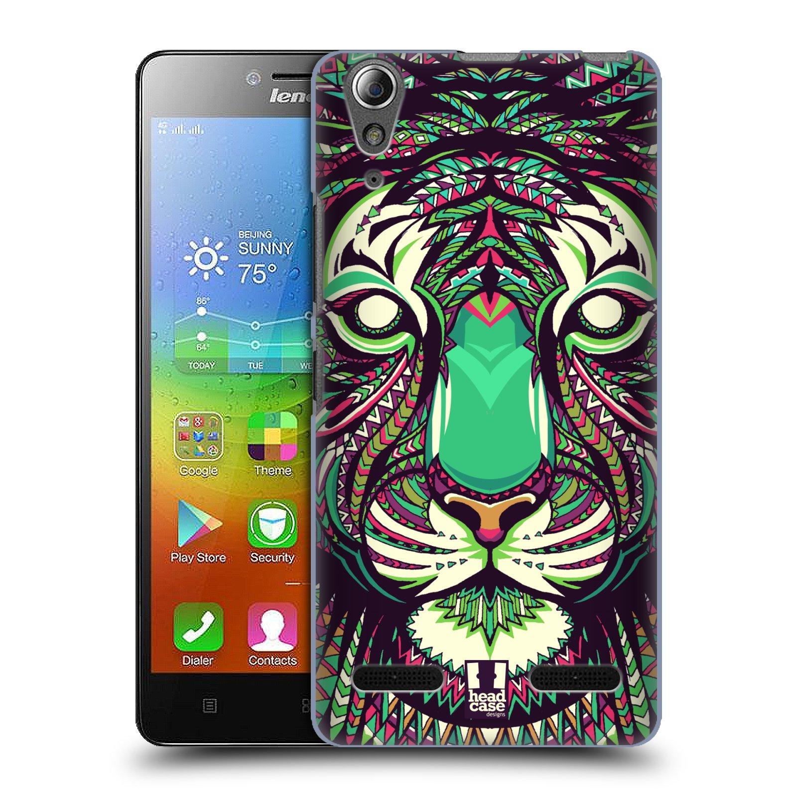 HEAD CASE pevný plastový obal na mobil LENOVO A6000 / A6000 PLUS vzor Aztécký motiv zvíře 2 tygr