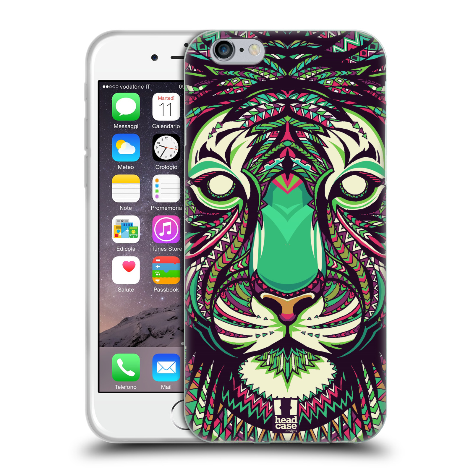 HEAD CASE silikonový obal na mobil Apple Iphone 6/6S vzor Aztécký motiv zvíře 2 tygr