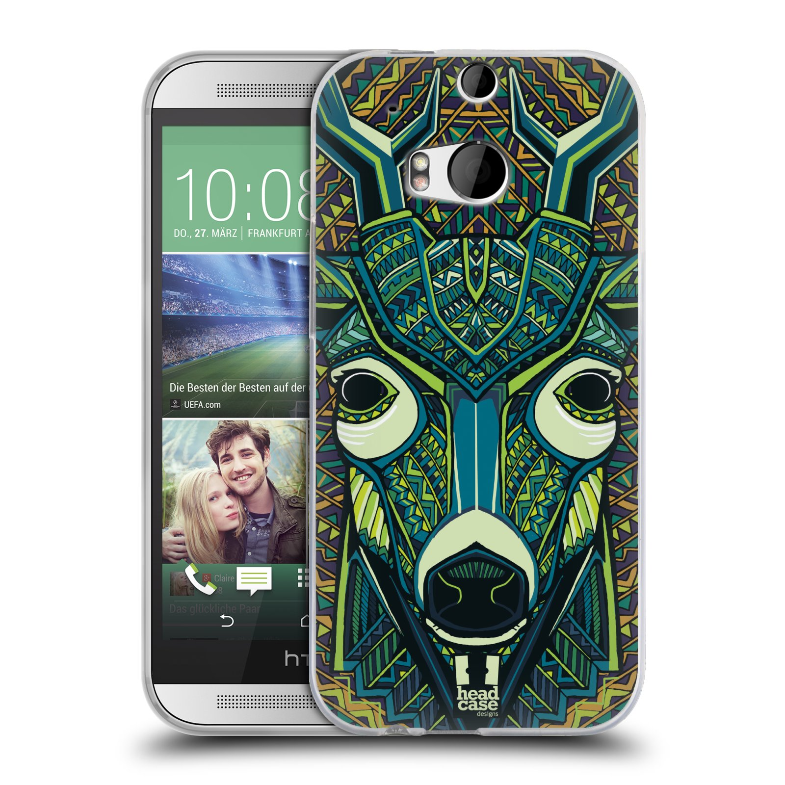 HEAD CASE AZTEC ANIMAL FACES SERIES 6 SILICONE GEL CASE FOR HTC ONE M8