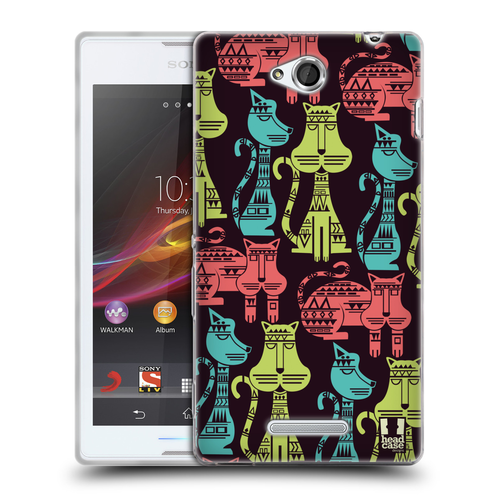 HEAD-CASE-DESIGNS-AZTEC-CATS-PATTERN-SOFT-GEL-CASE-FOR-SONY-PHONES-3