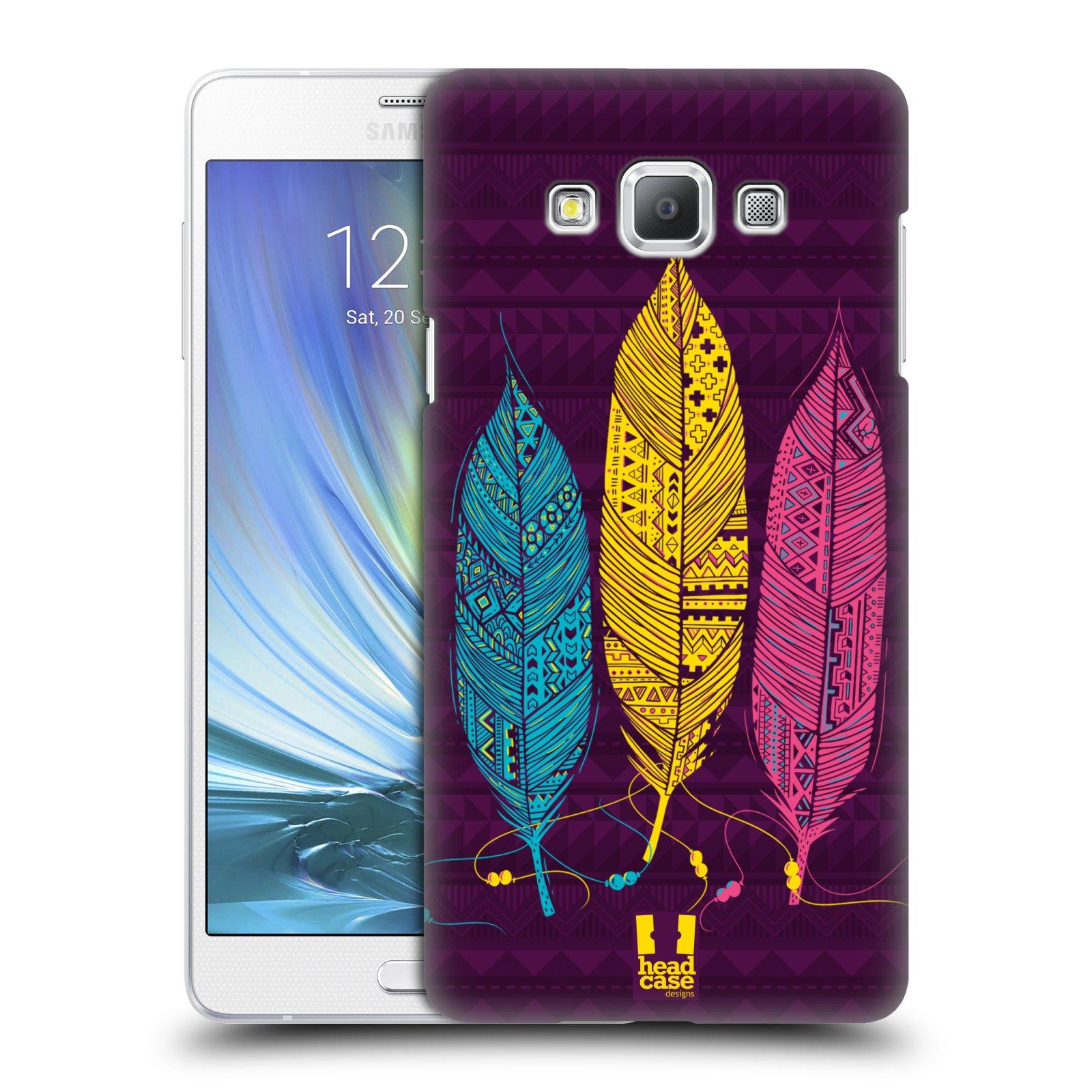 HEAD CASE plastový obal na mobil SAMSUNG GALAXY A7 vzor Aztécká pírka žlutá, modrá, růžová