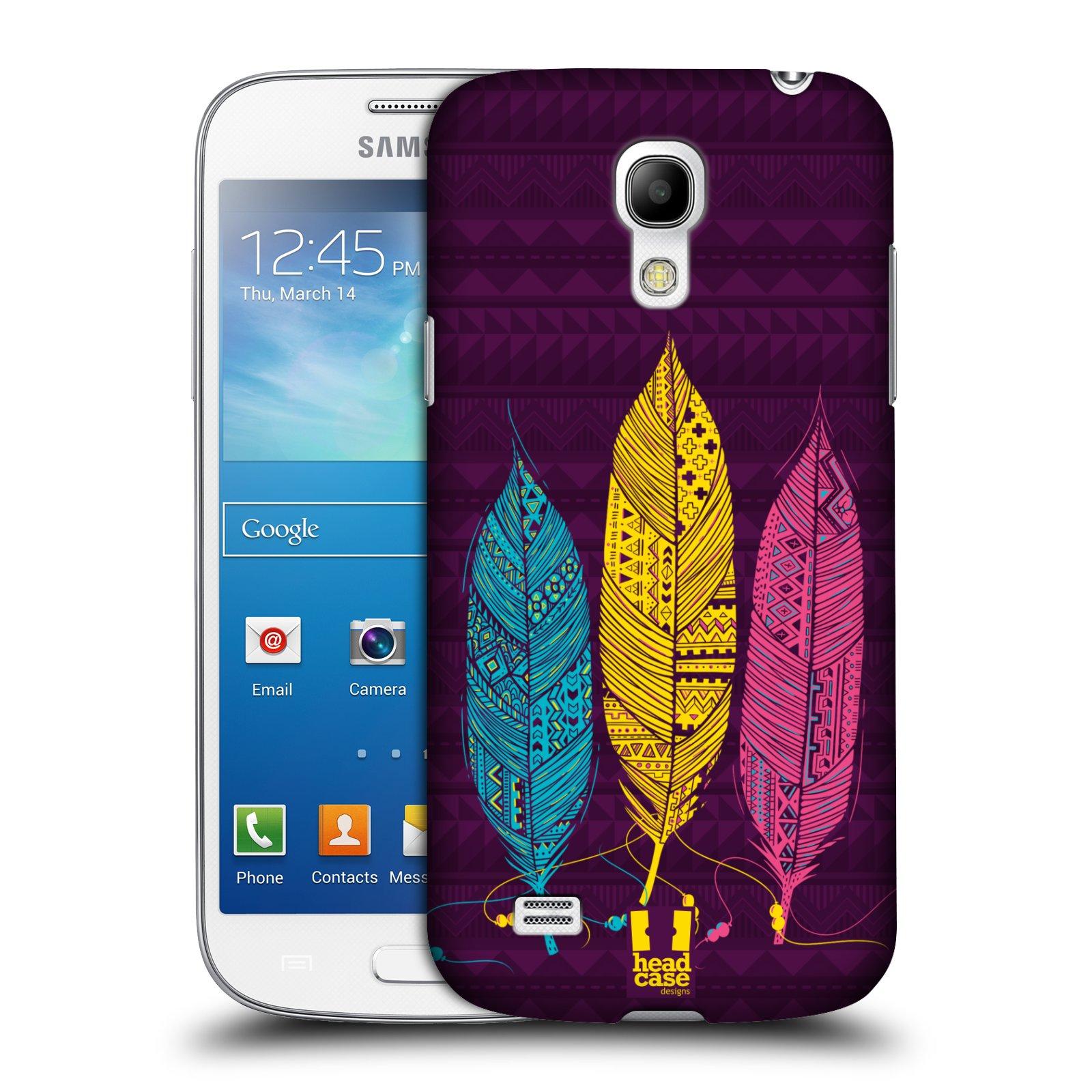 HEAD CASE plastový obal na mobil SAMSUNG Galaxy S4 MINI / S4 MINI VE (i9190, i9195i, i9195) vzor Aztécká pírka žlutá, modrá, růžová