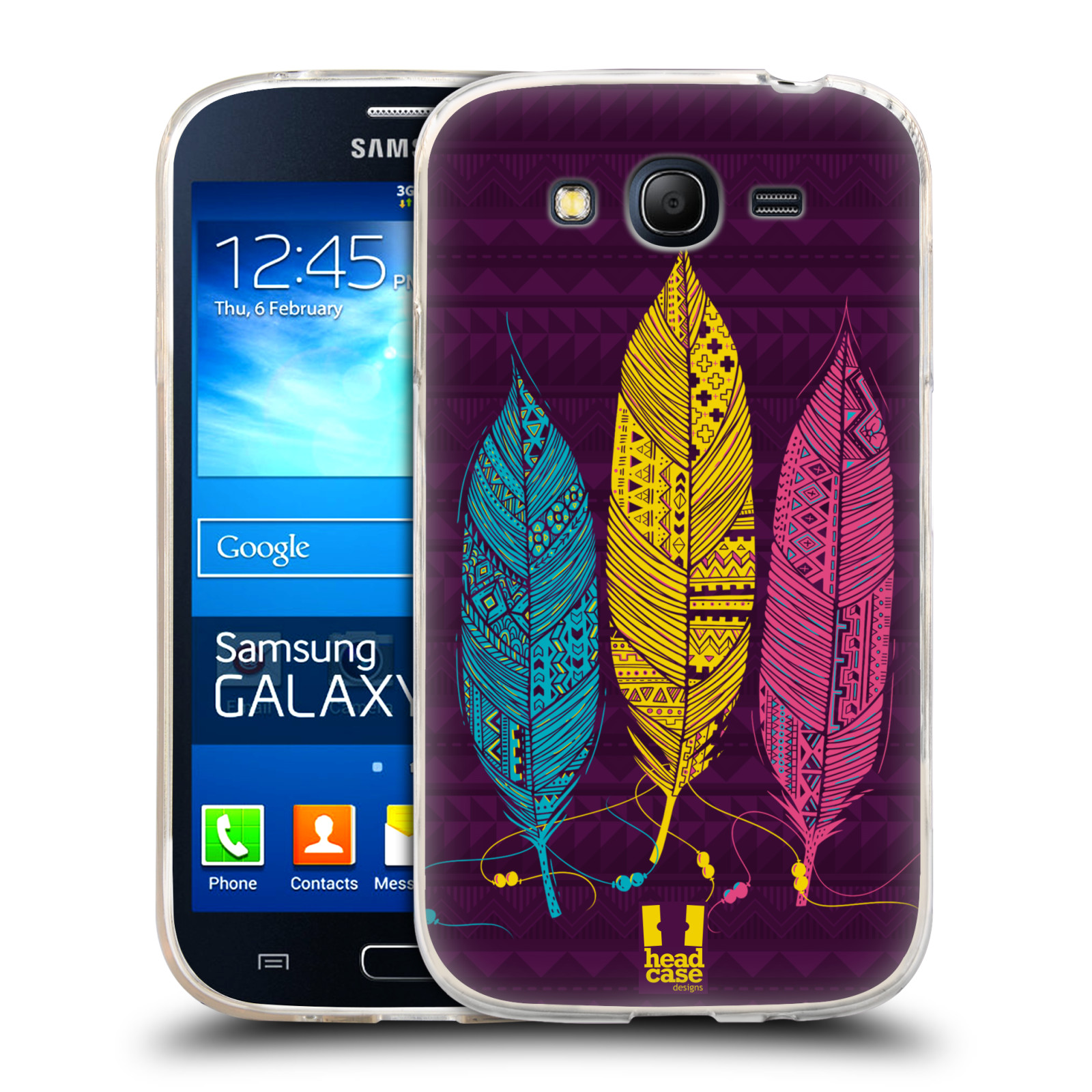 HEAD CASE AZTEC FEATHERS SILICONE GEL CASE FOR SAMSUNG GALAXY GRAND NEO I9060