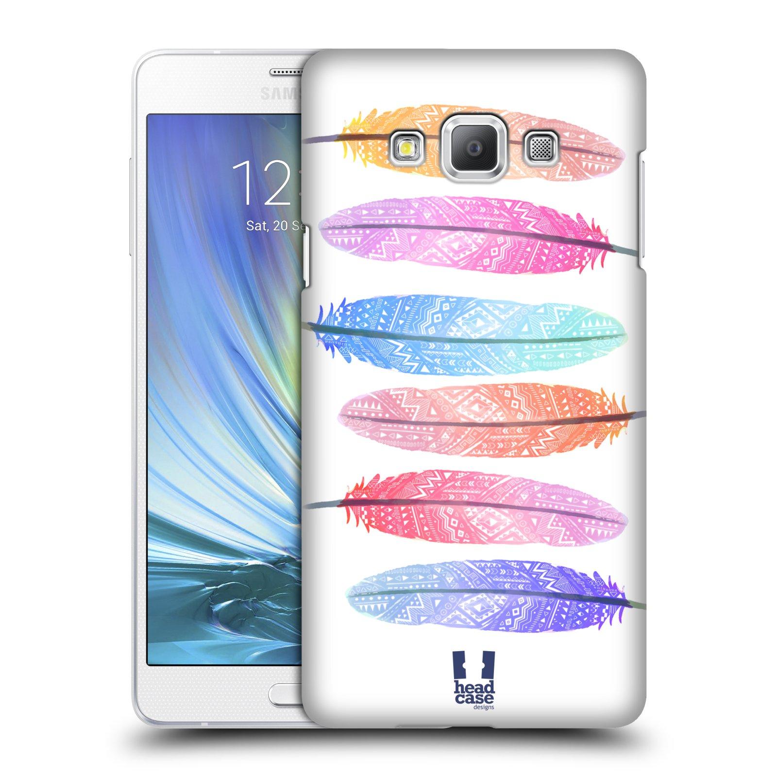 HEAD CASE plastový obal na mobil SAMSUNG GALAXY A7 vzor Aztécká pírka růžová a modrá