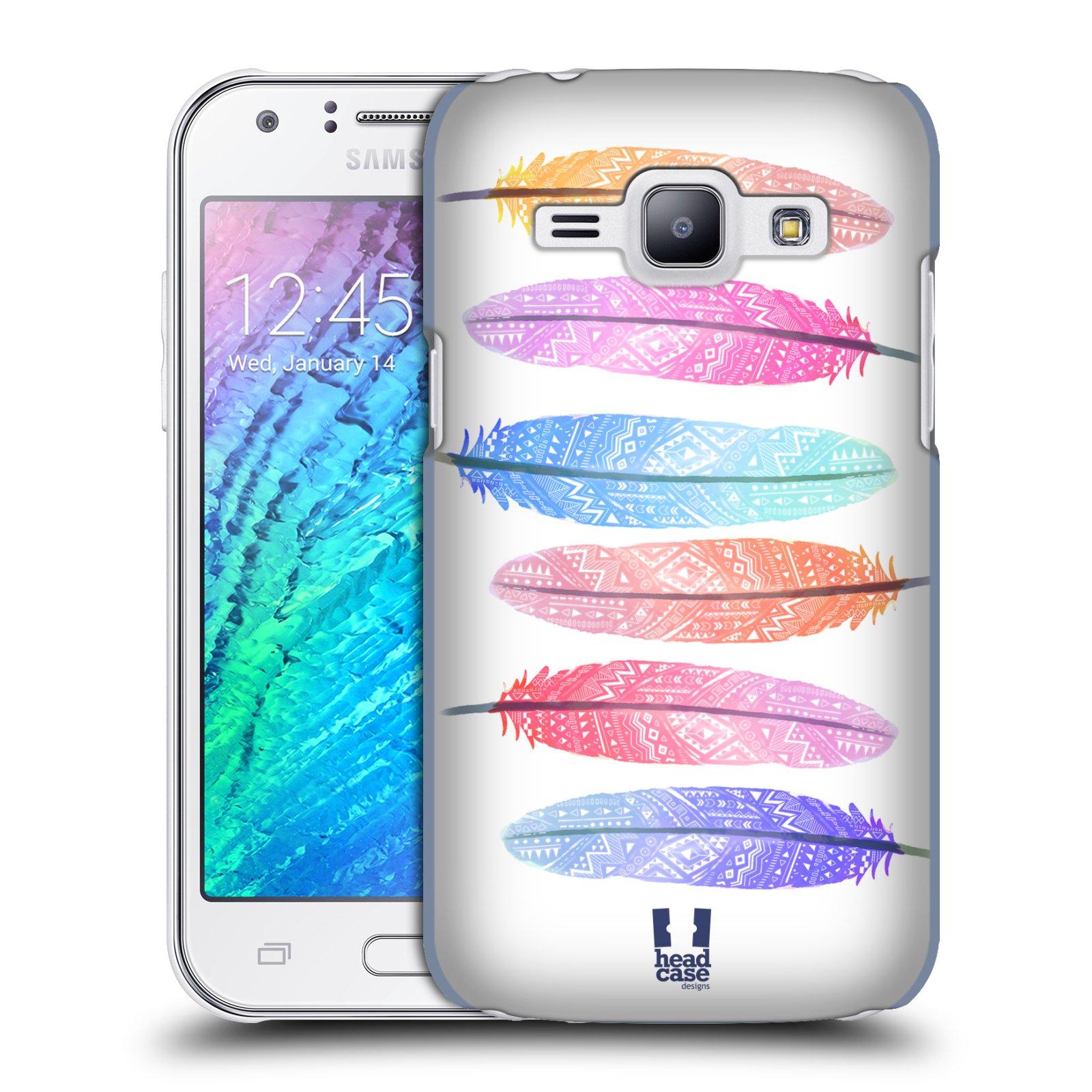 HEAD CASE plastový obal na mobil SAMSUNG Galaxy J1, J100 vzor Aztécká pírka růžová a modrá