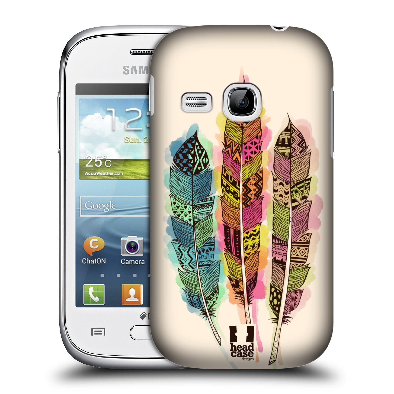 HEAD CASE plastový obal na mobil SAMSUNG Galaxy Young S6310 vzor Aztécká pírka vodovky