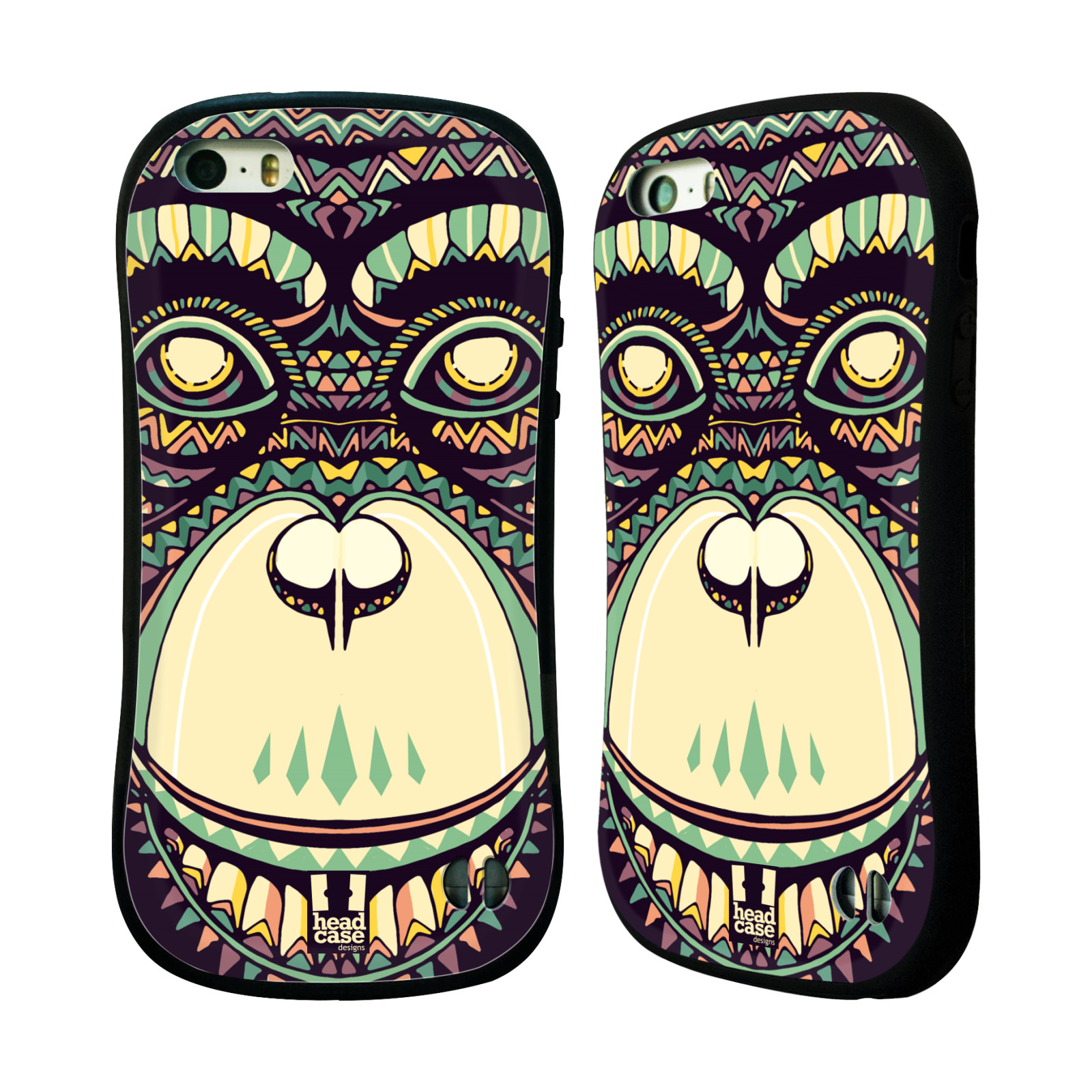 HEAD CASE silikon/plast odolný obal na mobil Apple Iphone 5/5S vzor Aztécký motiv zvíře 3 šimpanz