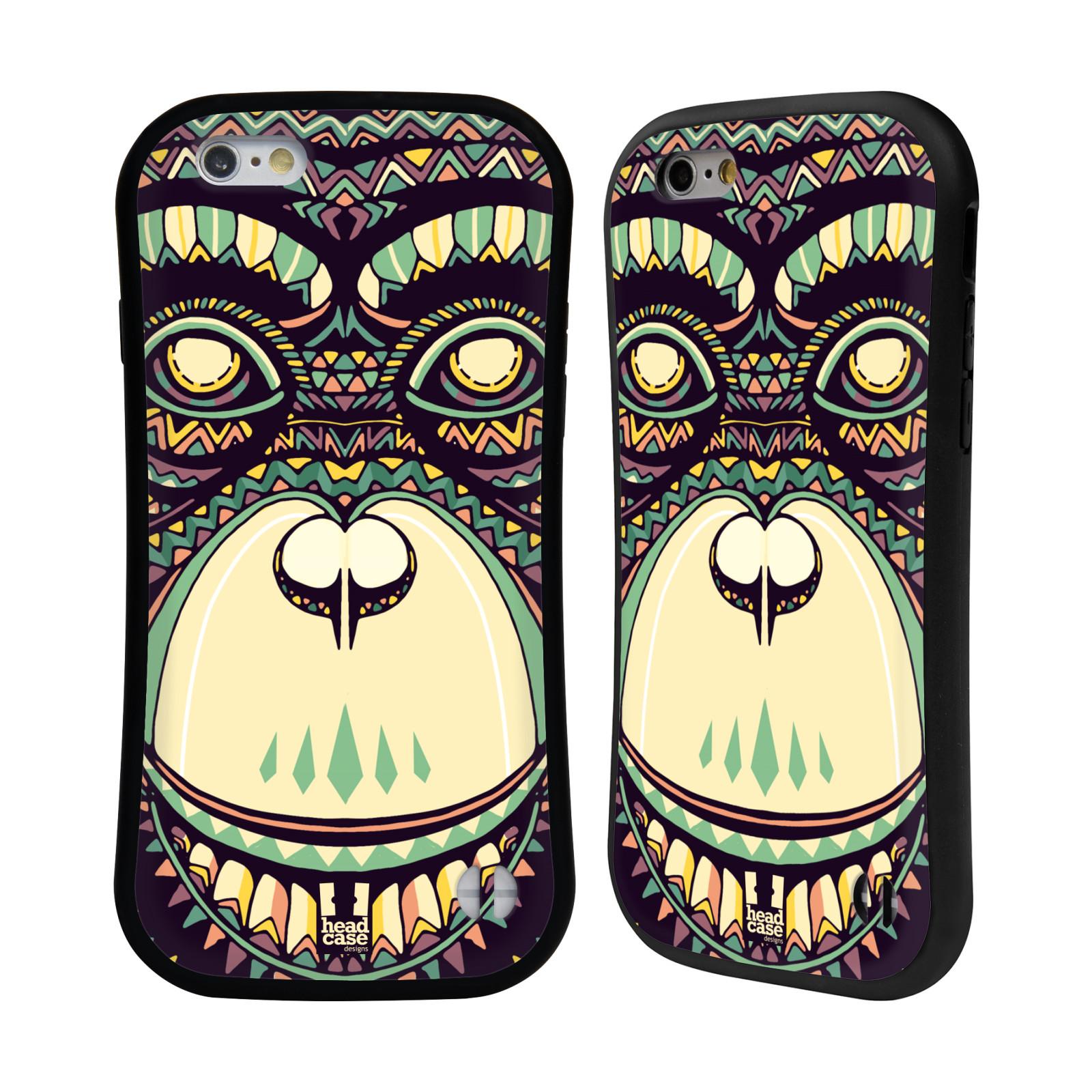 HEAD CASE silikon/plast odolný obal na mobil Apple Iphone 6/6S vzor Aztécký motiv zvíře 3 šimpanz