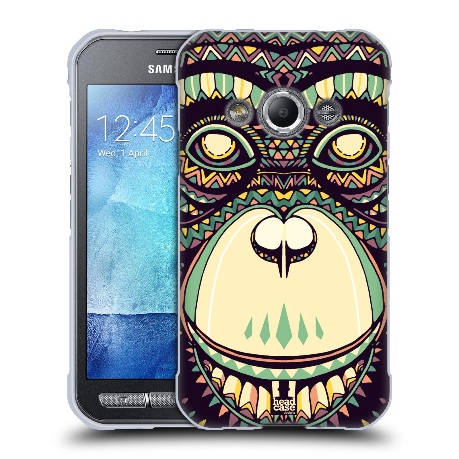 HEAD CASE silikonový obal na mobil Samsung Galaxy Xcover 3 vzor Aztécký motiv zvíře 3 šimpanz