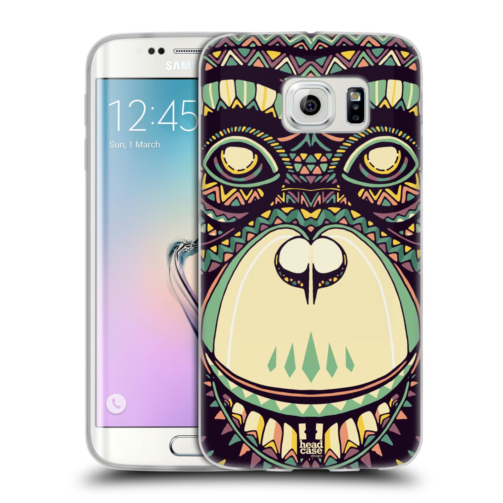 HEAD CASE silikonový obal na mobil Samsung Galaxy S6 EDGE vzor Aztécký motiv zvíře 3 šimpanz