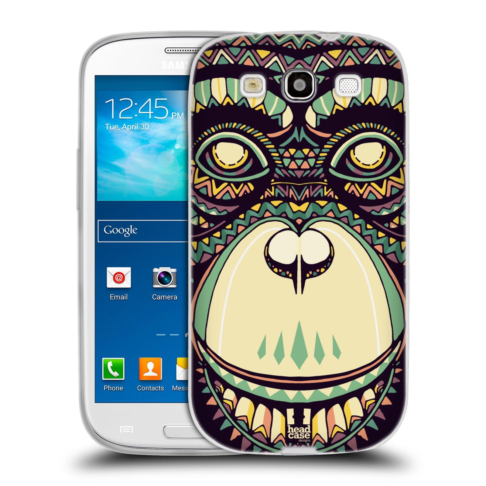HEAD CASE silikonový obal na mobil Samsung Galaxy S3 i9300 vzor Aztécký motiv zvíře 3 šimpanz