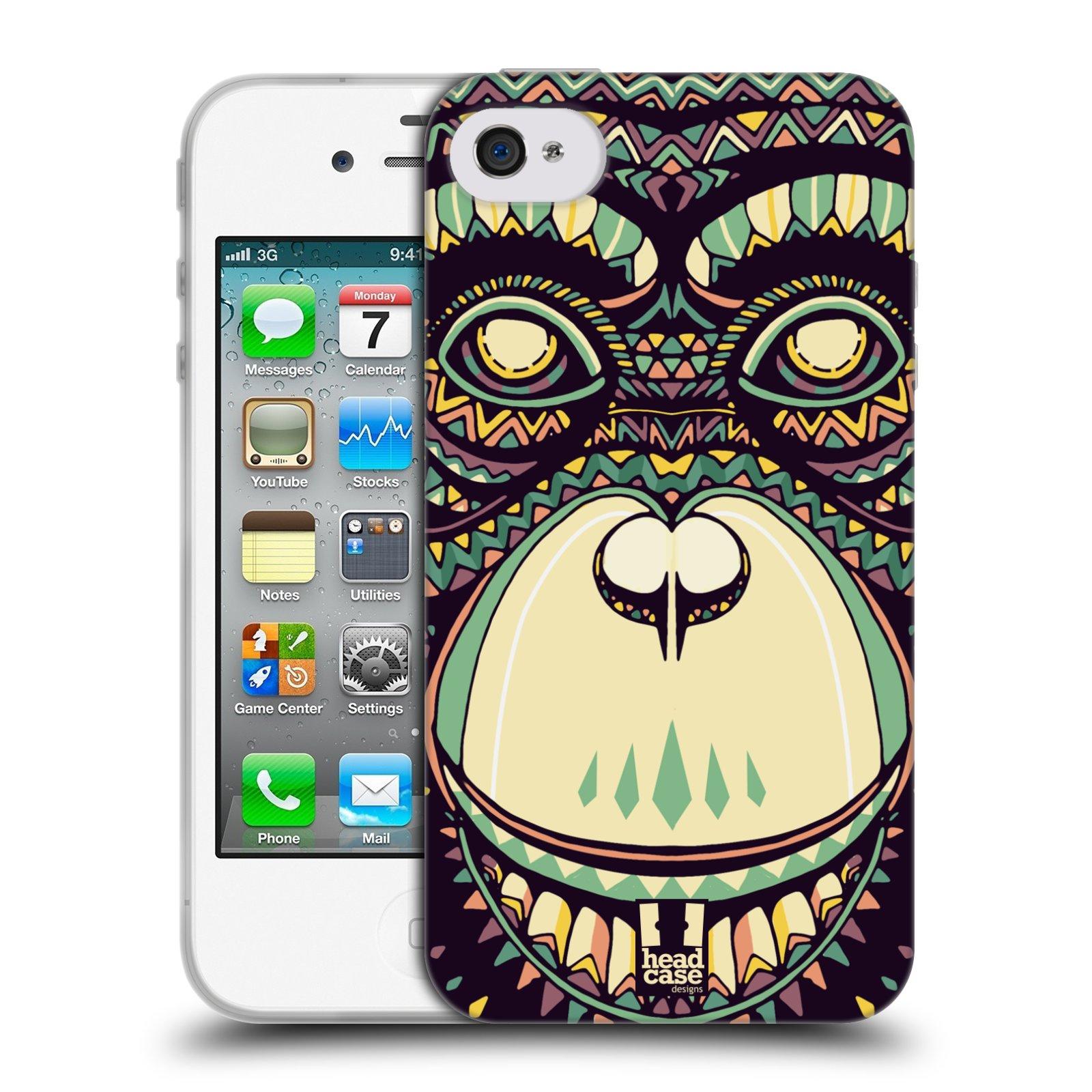 HEAD CASE silikonový obal na mobil Apple Iphone 4/4S vzor Aztécký motiv zvíře 3 šimpanz