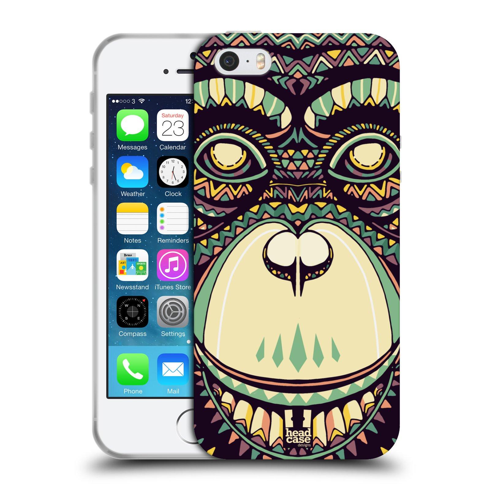 HEAD CASE silikonový obal na mobil Apple Iphone 5/5S vzor Aztécký motiv zvíře 3 šimpanz