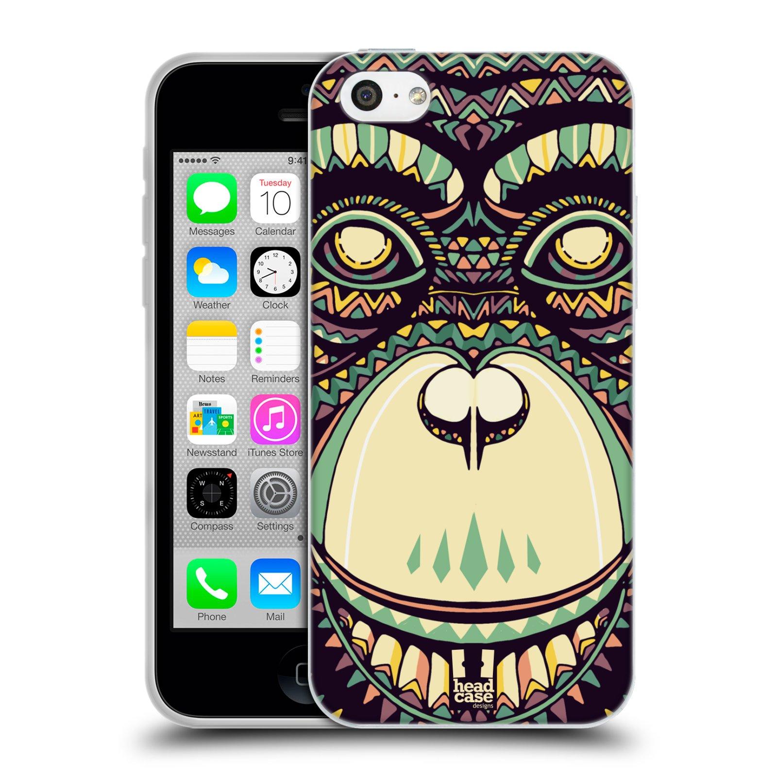 HEAD CASE silikonový obal na mobil Apple Iphone 5C vzor Aztécký motiv zvíře 3 šimpanz