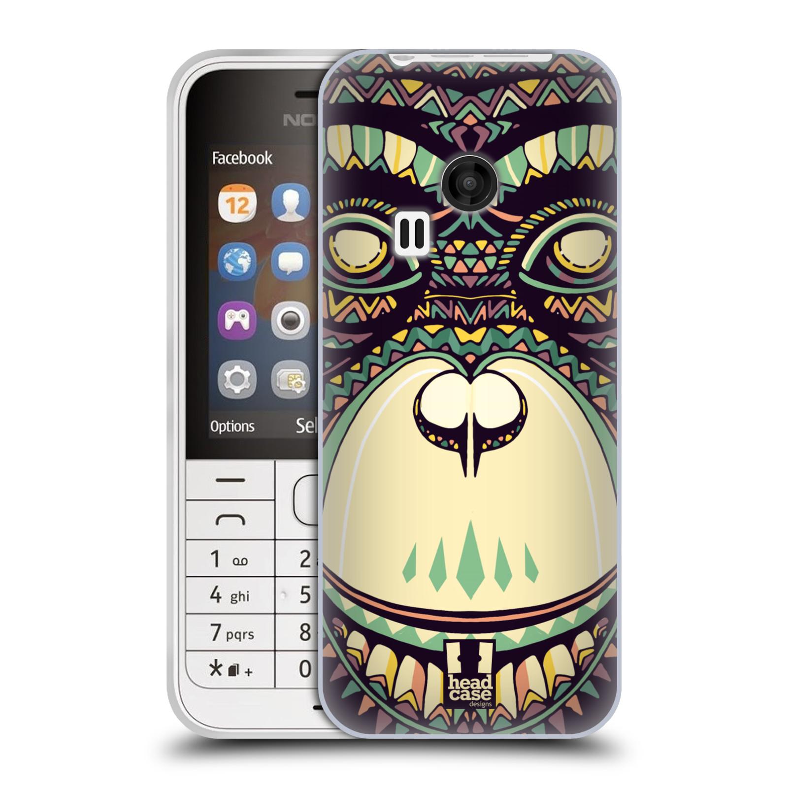 HEAD CASE silikonový obal na mobil NOKIA 220 / NOKIA 220 DUAL SIM vzor Aztécký motiv zvíře 3 šimpanz