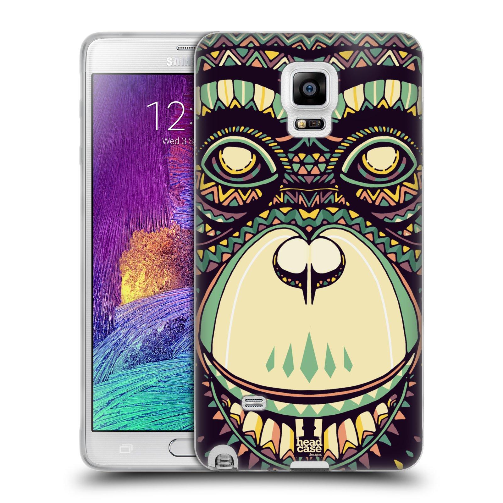 HEAD CASE silikonový obal na mobil Samsung Galaxy Note 4 (N910) vzor Aztécký motiv zvíře 3 šimpanz