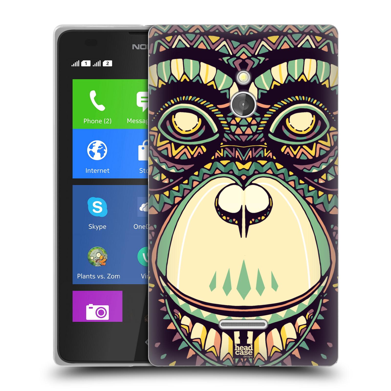 HEAD CASE silikonový obal na mobil NOKIA XL / NOKIA XL DUAL SIM vzor Aztécký motiv zvíře 3 šimpanz