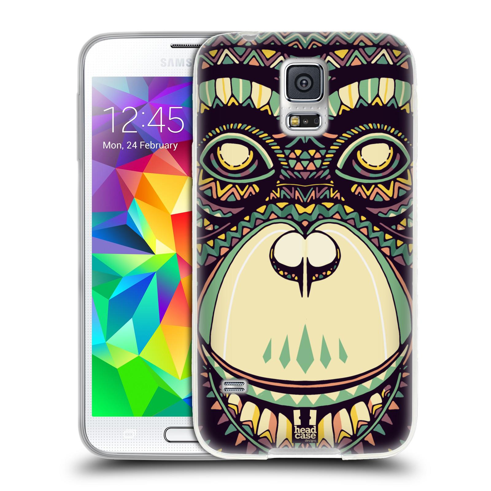 HEAD CASE silikonový obal na mobil Samsung Galaxy S5/S5 NEO vzor Aztécký motiv zvíře 3 šimpanz