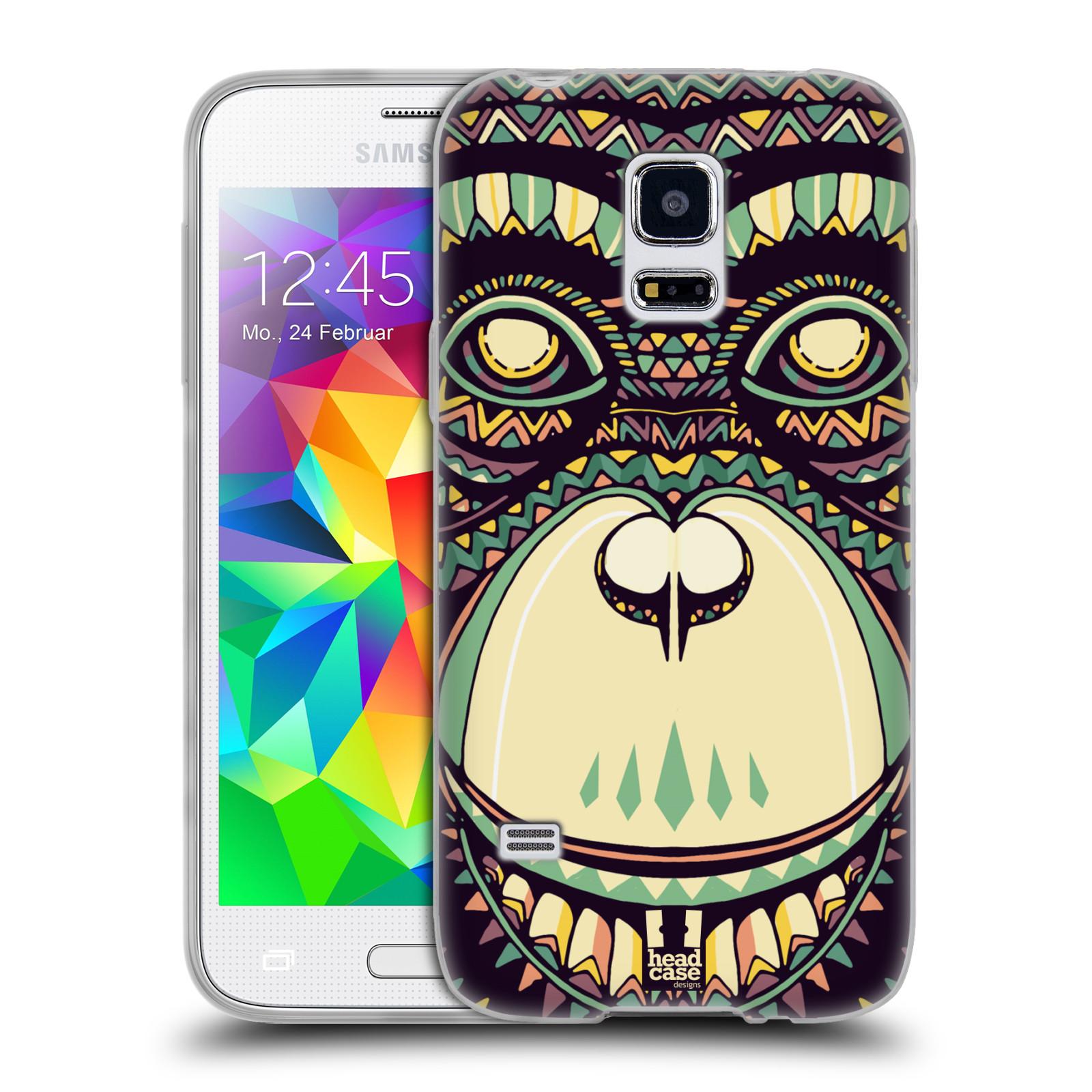 HEAD CASE silikonový obal na mobil Samsung Galaxy S5 MINI vzor Aztécký motiv zvíře 3 šimpanz