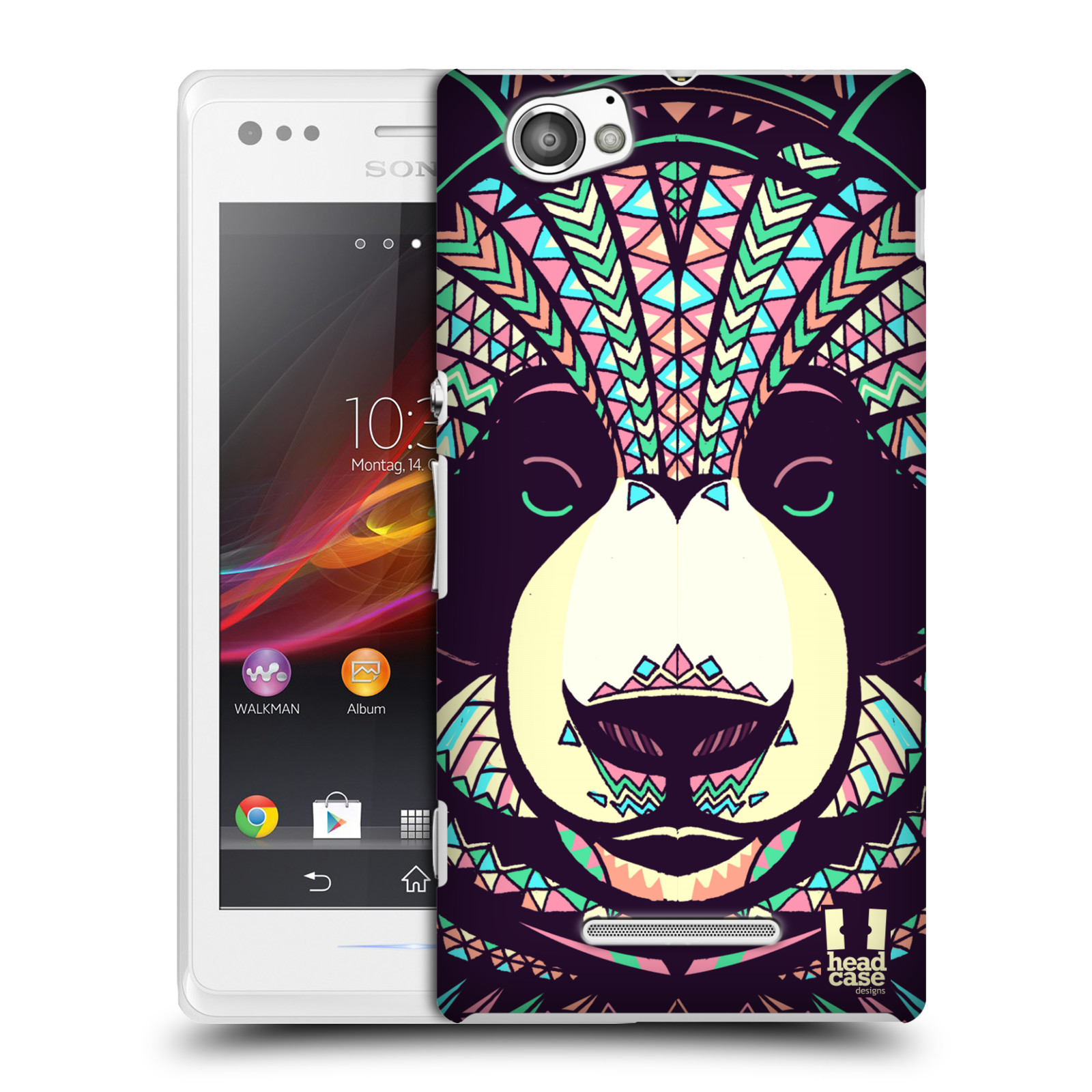 HEAD CASE plastový obal na mobil Sony Xperia M vzor Aztécký motiv zvíře 3 panda