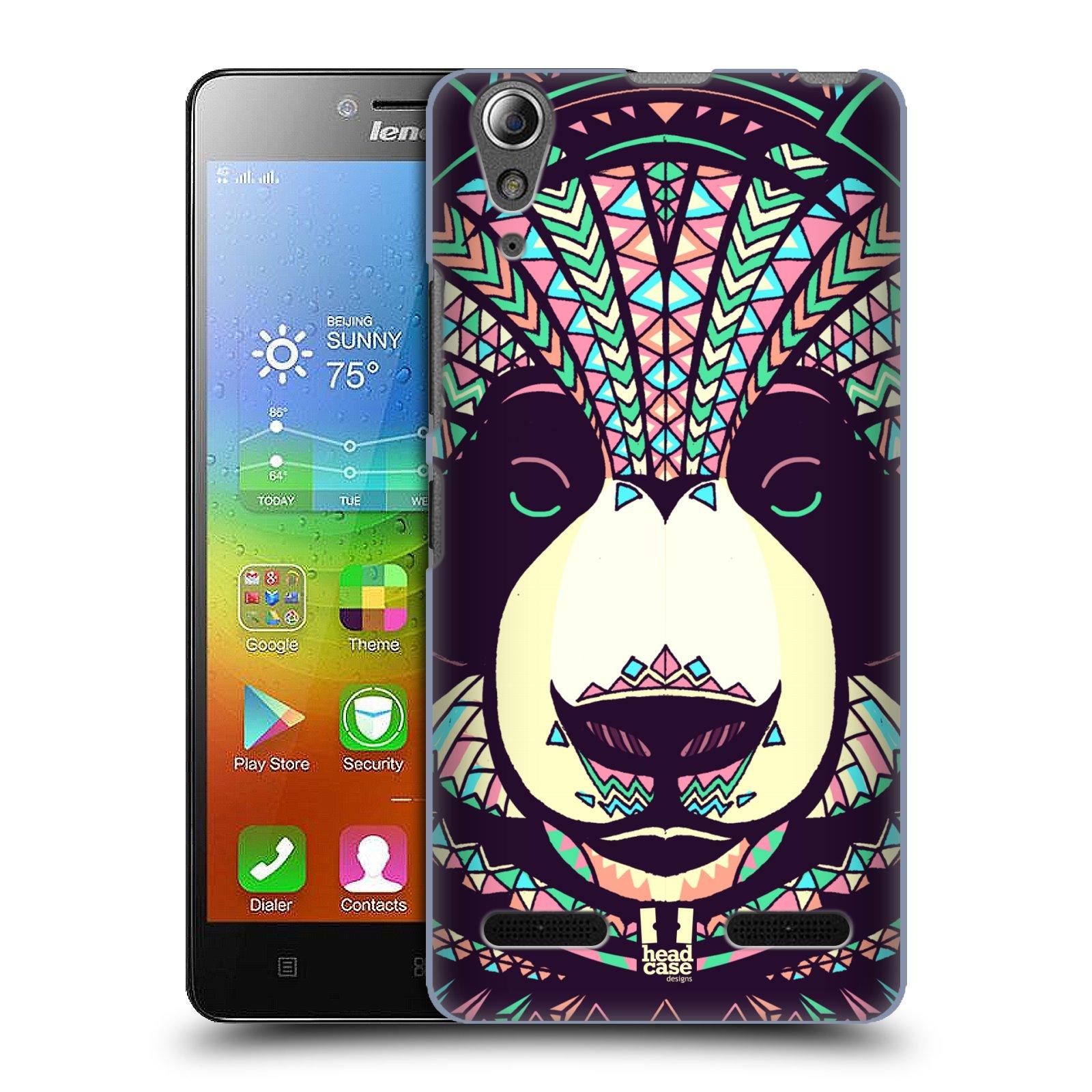 HEAD CASE pevný plastový obal na mobil LENOVO A6000 / A6000 PLUS vzor Aztécký motiv zvíře 3 panda