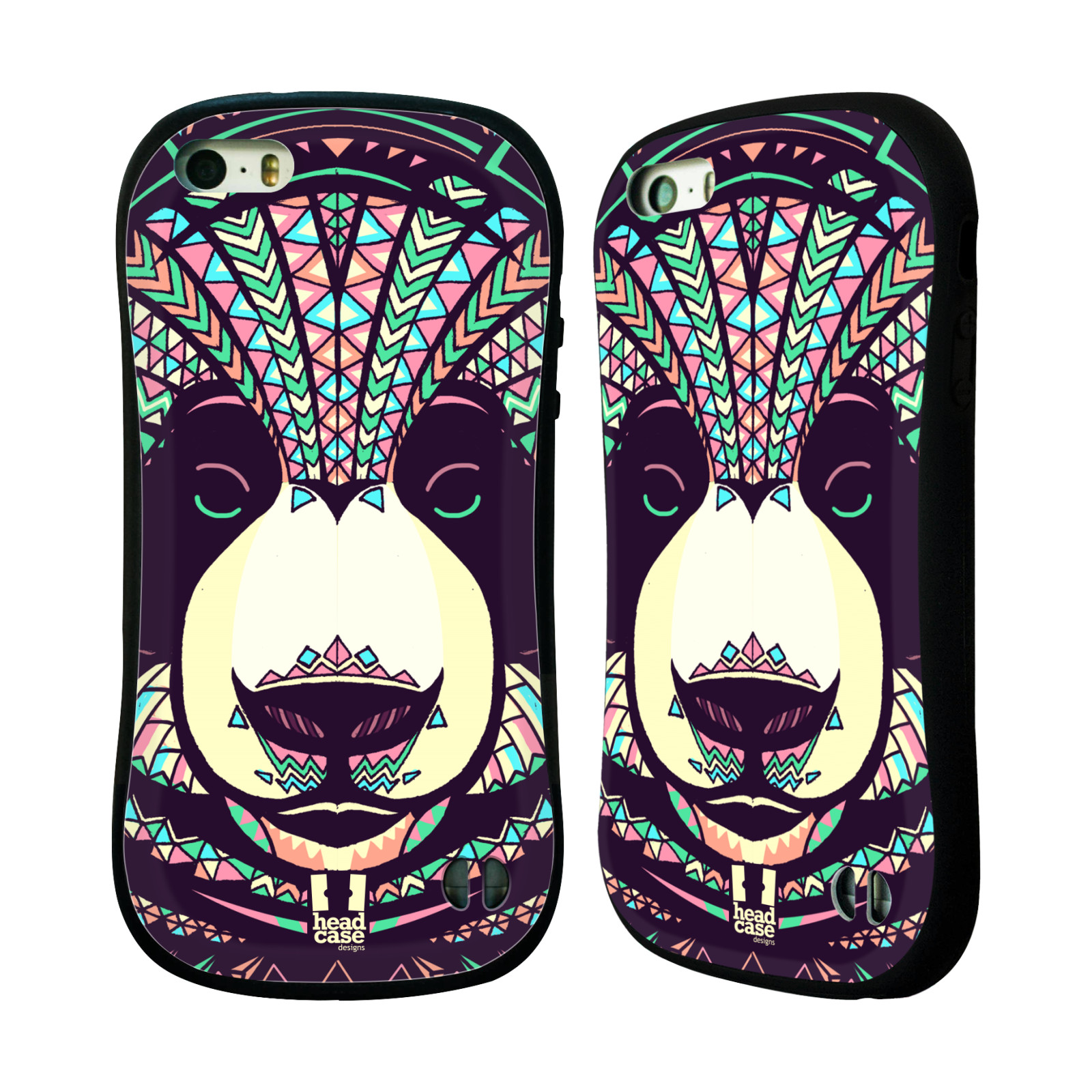 HEAD CASE silikon/plast odolný obal na mobil Apple Iphone 5/5S vzor Aztécký motiv zvíře 3 panda