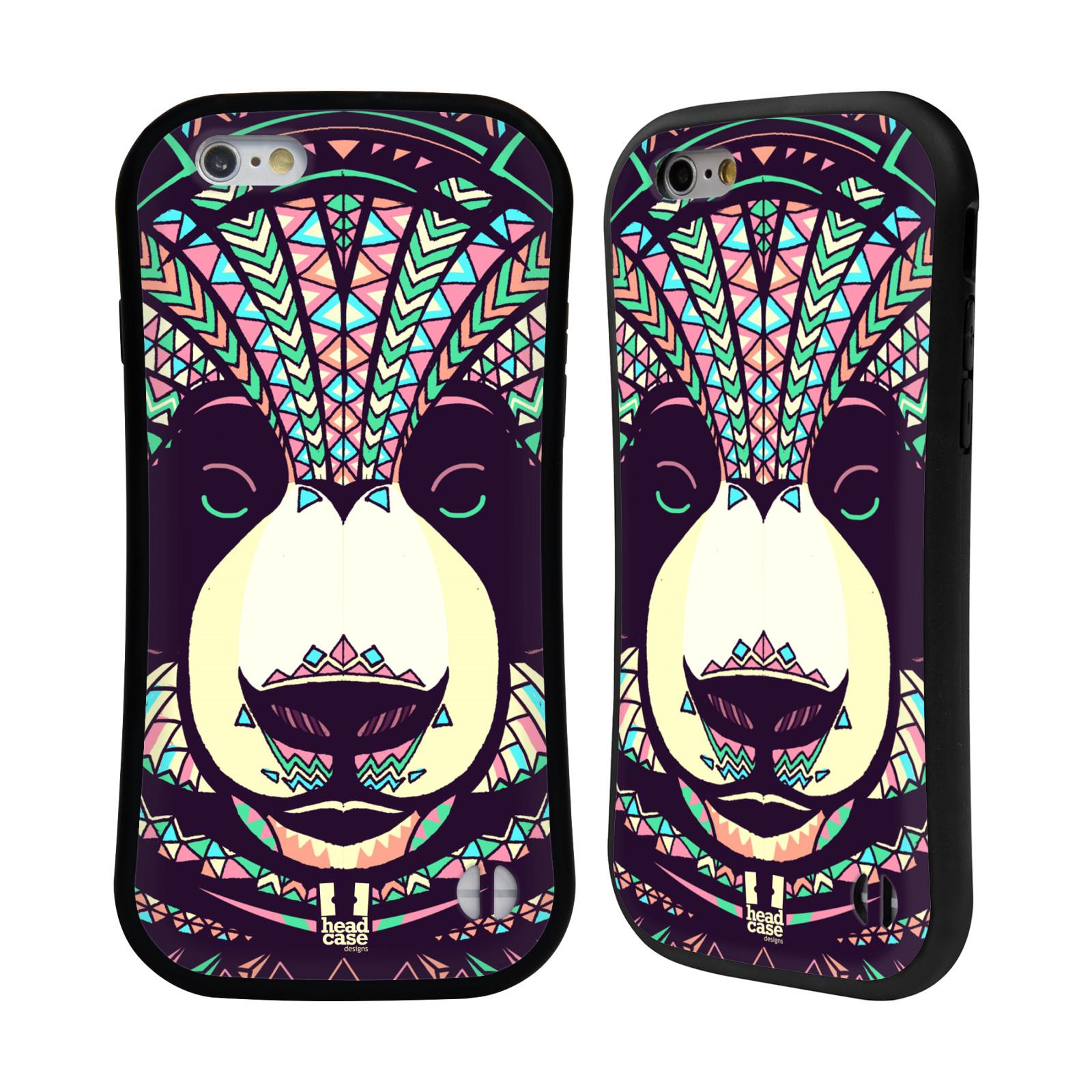 HEAD CASE silikon/plast odolný obal na mobil Apple Iphone 6/6S vzor Aztécký motiv zvíře 3 panda