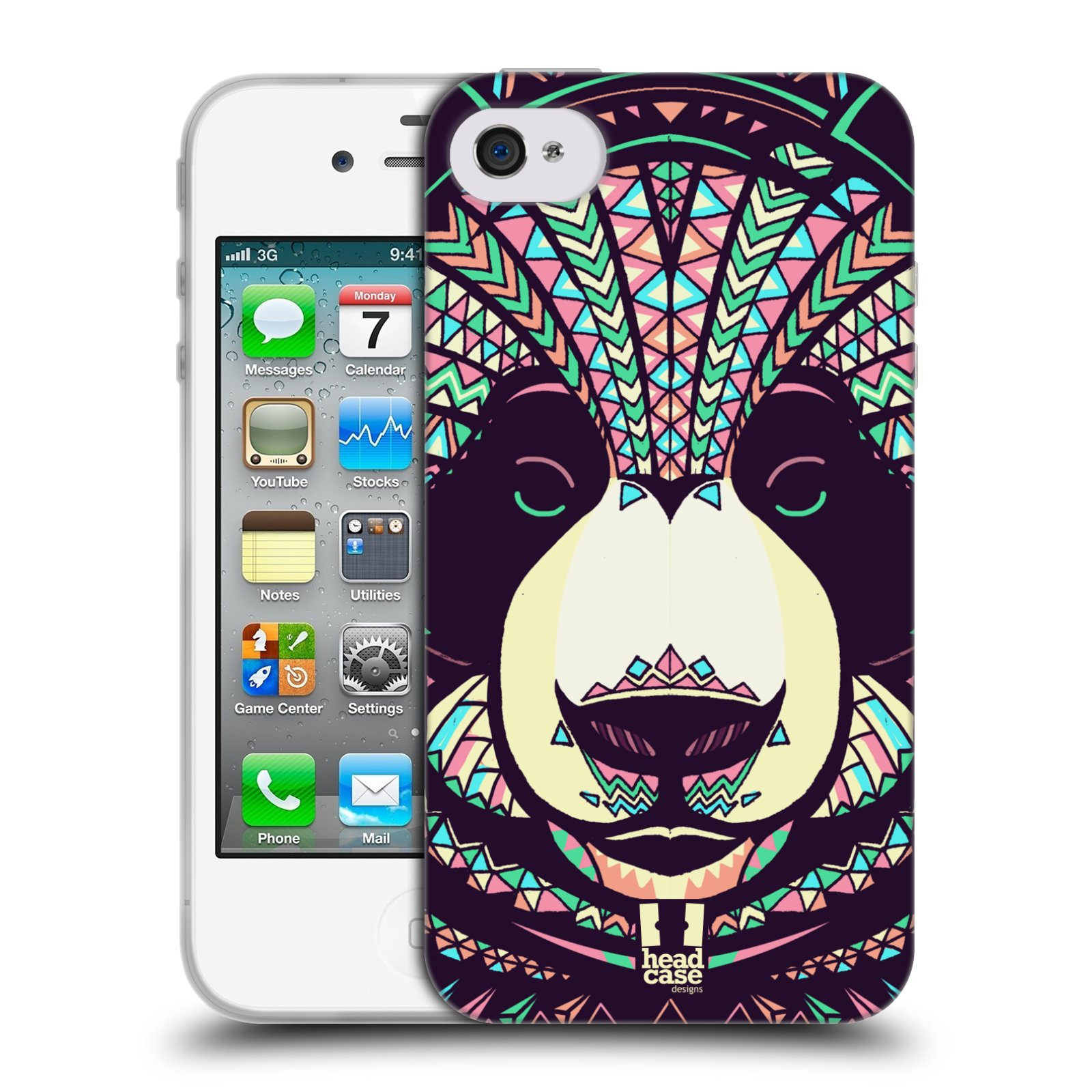 HEAD CASE silikonový obal na mobil Apple Iphone 4/4S vzor Aztécký motiv zvíře 3 panda