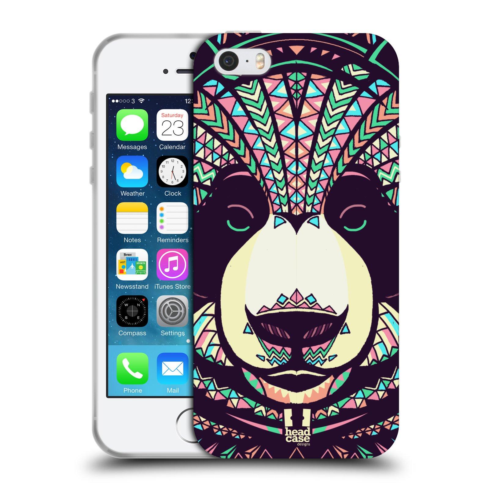 HEAD CASE silikonový obal na mobil Apple Iphone 5/5S vzor Aztécký motiv zvíře 3 panda