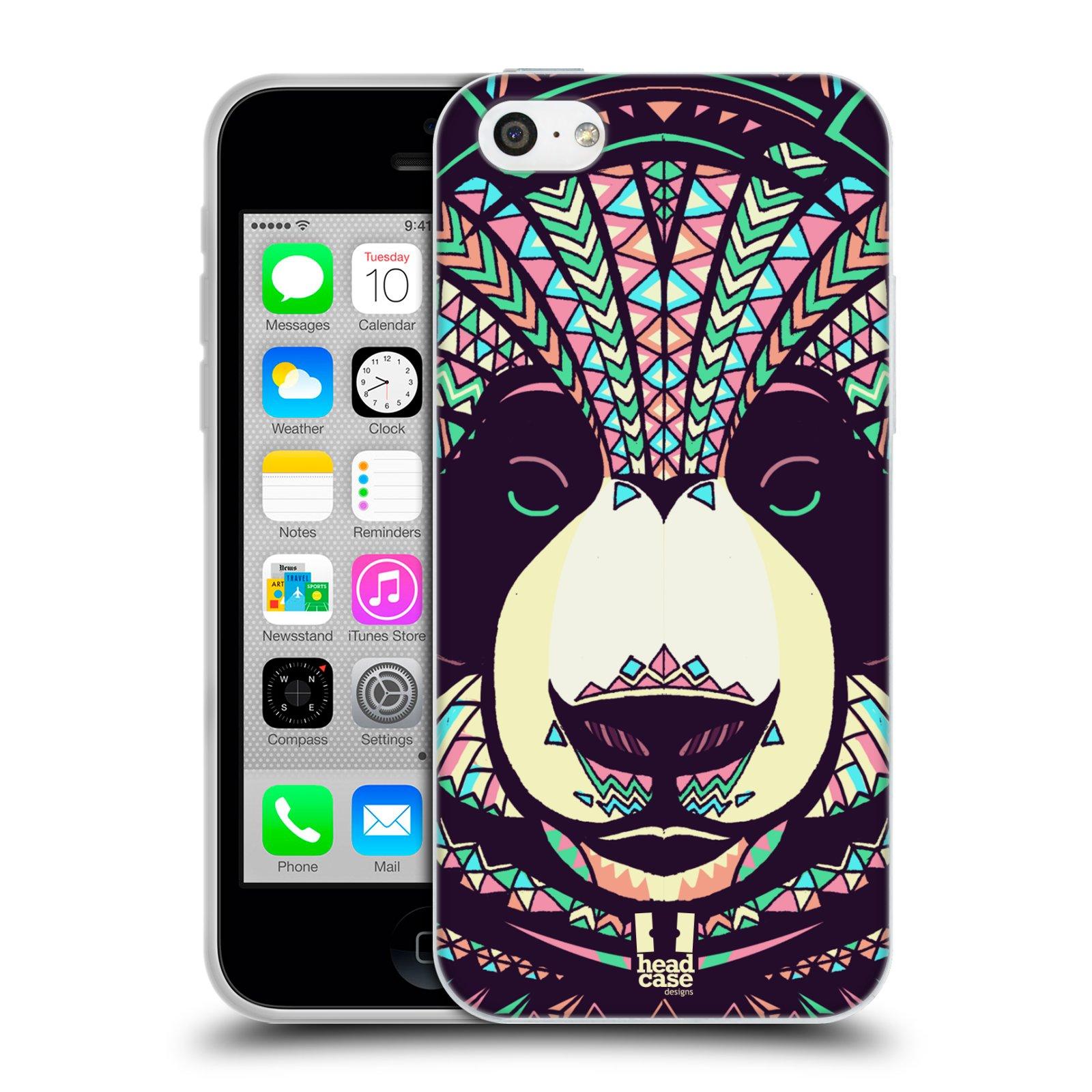 HEAD CASE silikonový obal na mobil Apple Iphone 5C vzor Aztécký motiv zvíře 3 panda