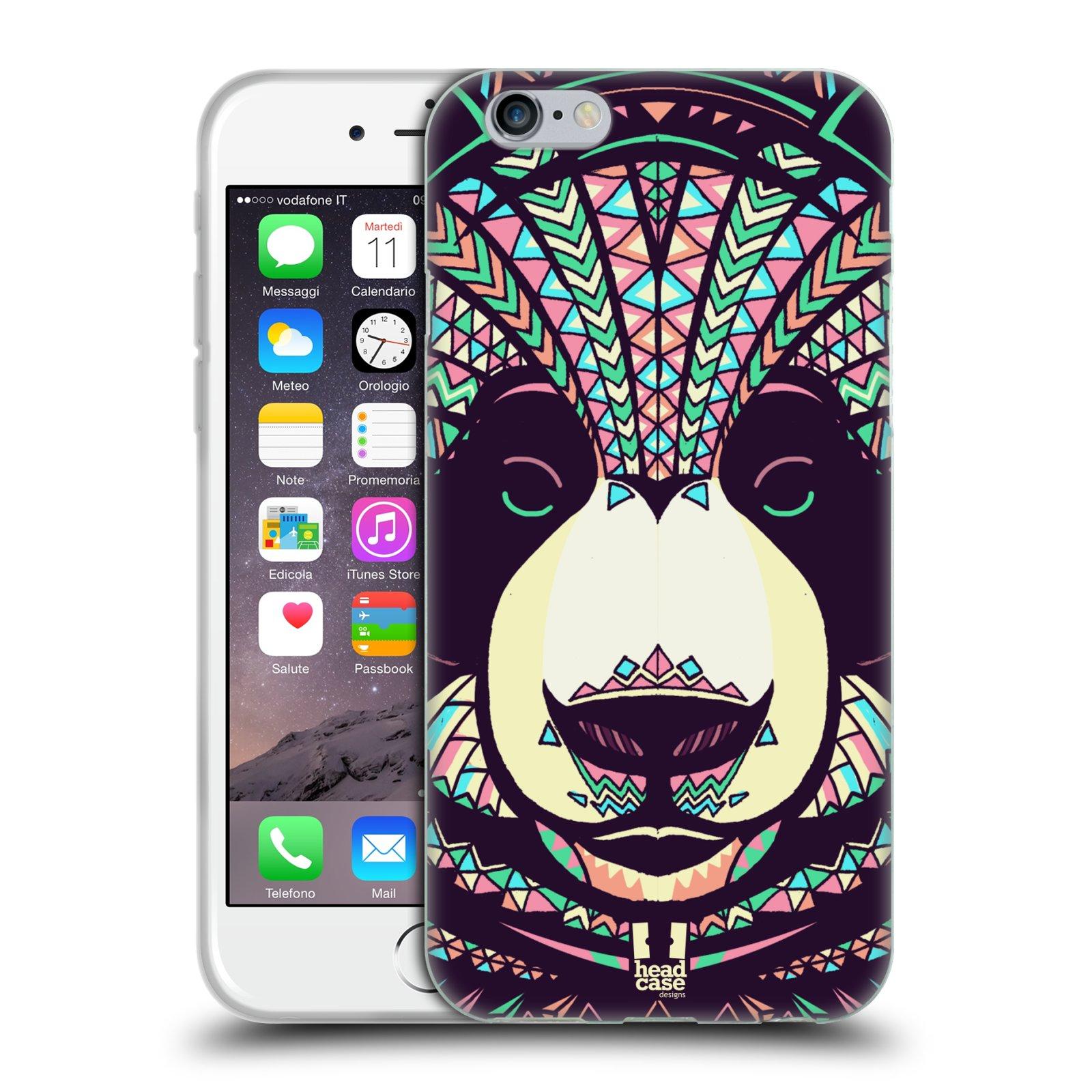 HEAD CASE silikonový obal na mobil Apple Iphone 6/6S vzor Aztécký motiv zvíře 3 panda