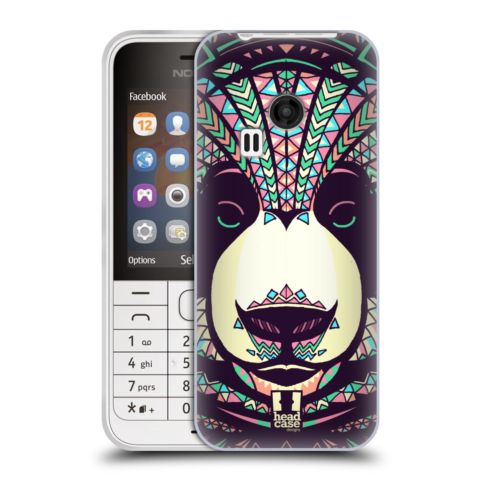HEAD CASE silikonový obal na mobil NOKIA 220 / NOKIA 220 DUAL SIM vzor Aztécký motiv zvíře 3 panda
