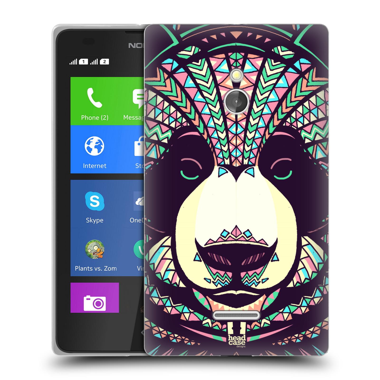 HEAD CASE silikonový obal na mobil NOKIA XL / NOKIA XL DUAL SIM vzor Aztécký motiv zvíře 3 panda