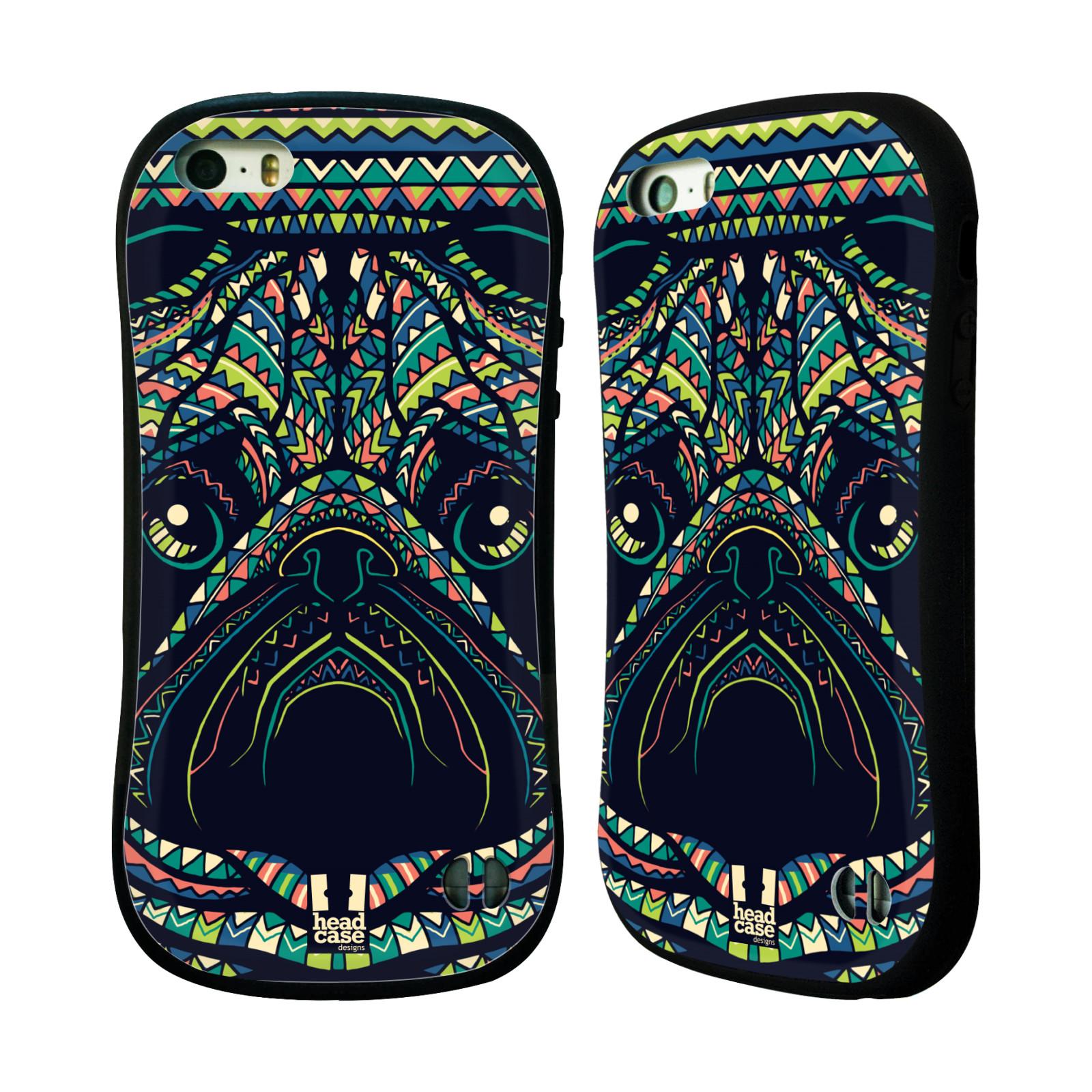 HEAD CASE silikon/plast odolný obal na mobil Apple Iphone 5/5S vzor Aztécký motiv zvíře 3 mopsík