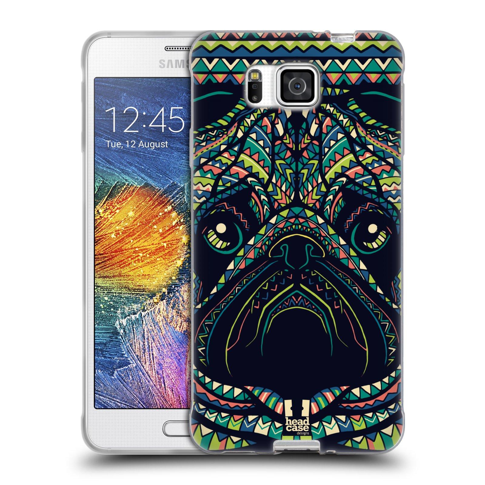 HEAD CASE silikonový obal na mobil Samsung Galaxy ALPHA vzor Aztécký motiv zvíře 3 mopsík