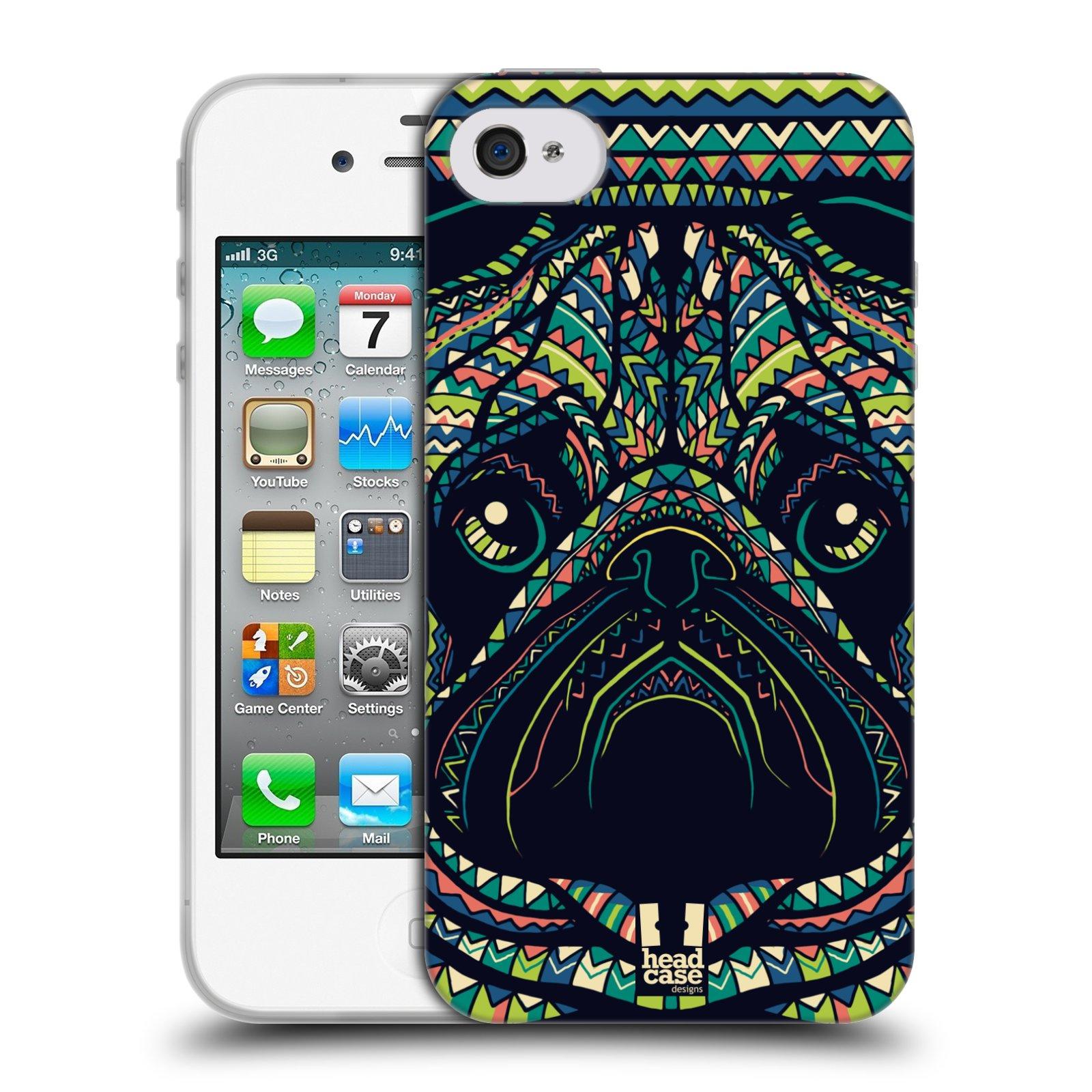 HEAD CASE silikonový obal na mobil Apple Iphone 4/4S vzor Aztécký motiv zvíře 3 mopsík