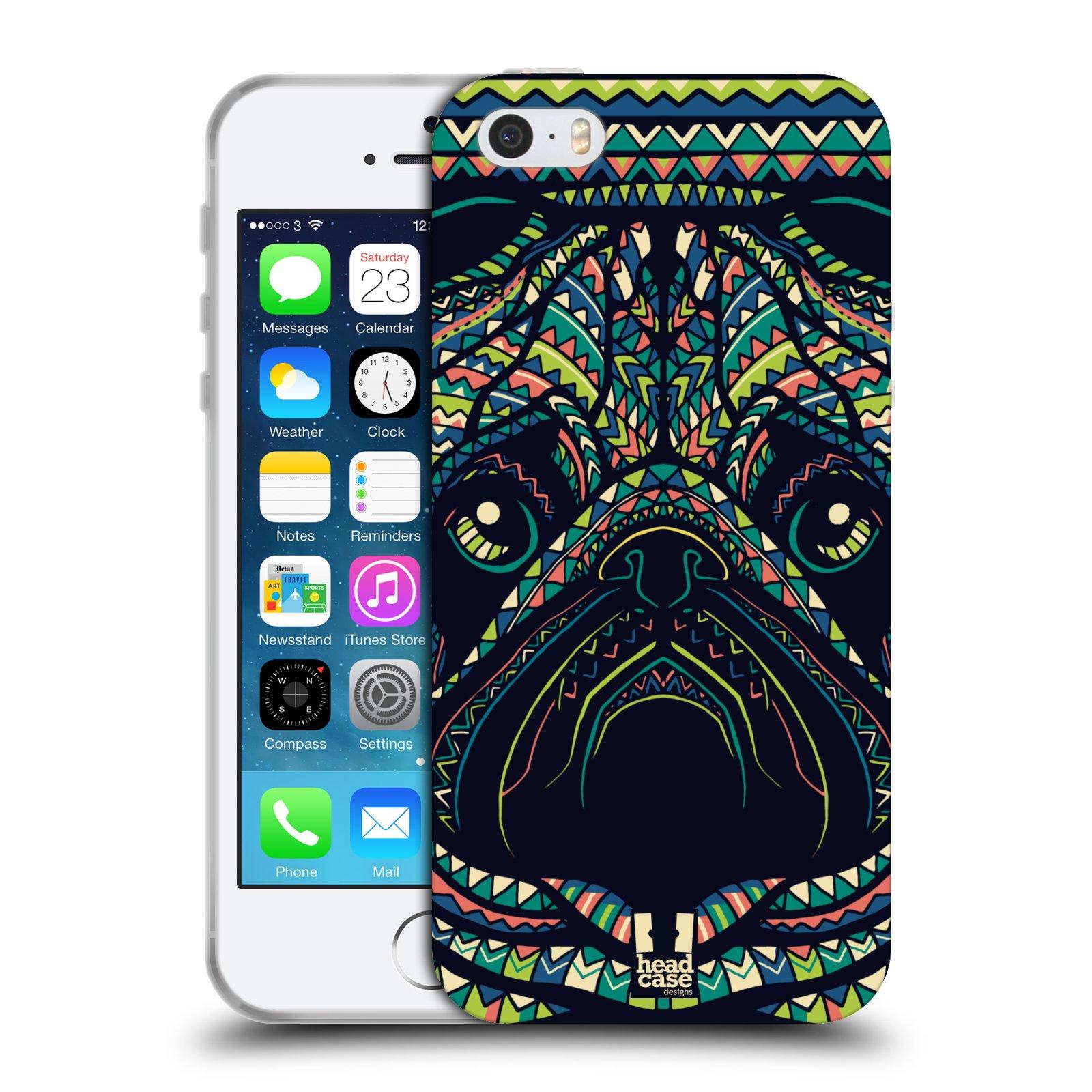 HEAD CASE silikonový obal na mobil Apple Iphone 5/5S vzor Aztécký motiv zvíře 3 mopsík
