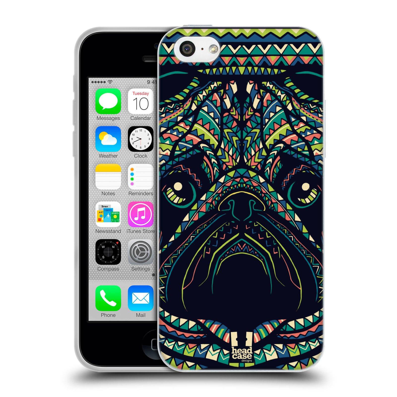 HEAD CASE silikonový obal na mobil Apple Iphone 5C vzor Aztécký motiv zvíře 3 mopsík