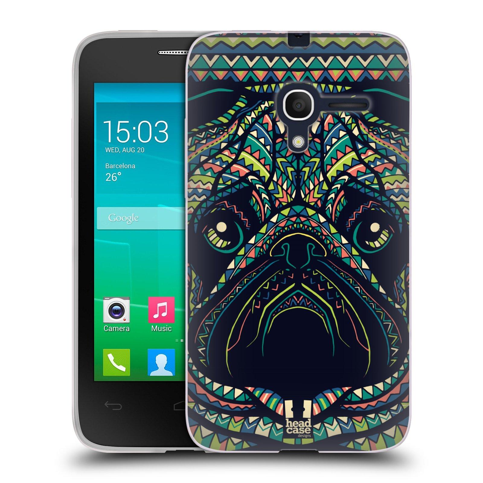 HEAD CASE silikonový obal na mobil Alcatel POP D3 OT-4035D vzor Aztécký motiv zvíře 3 mopsík