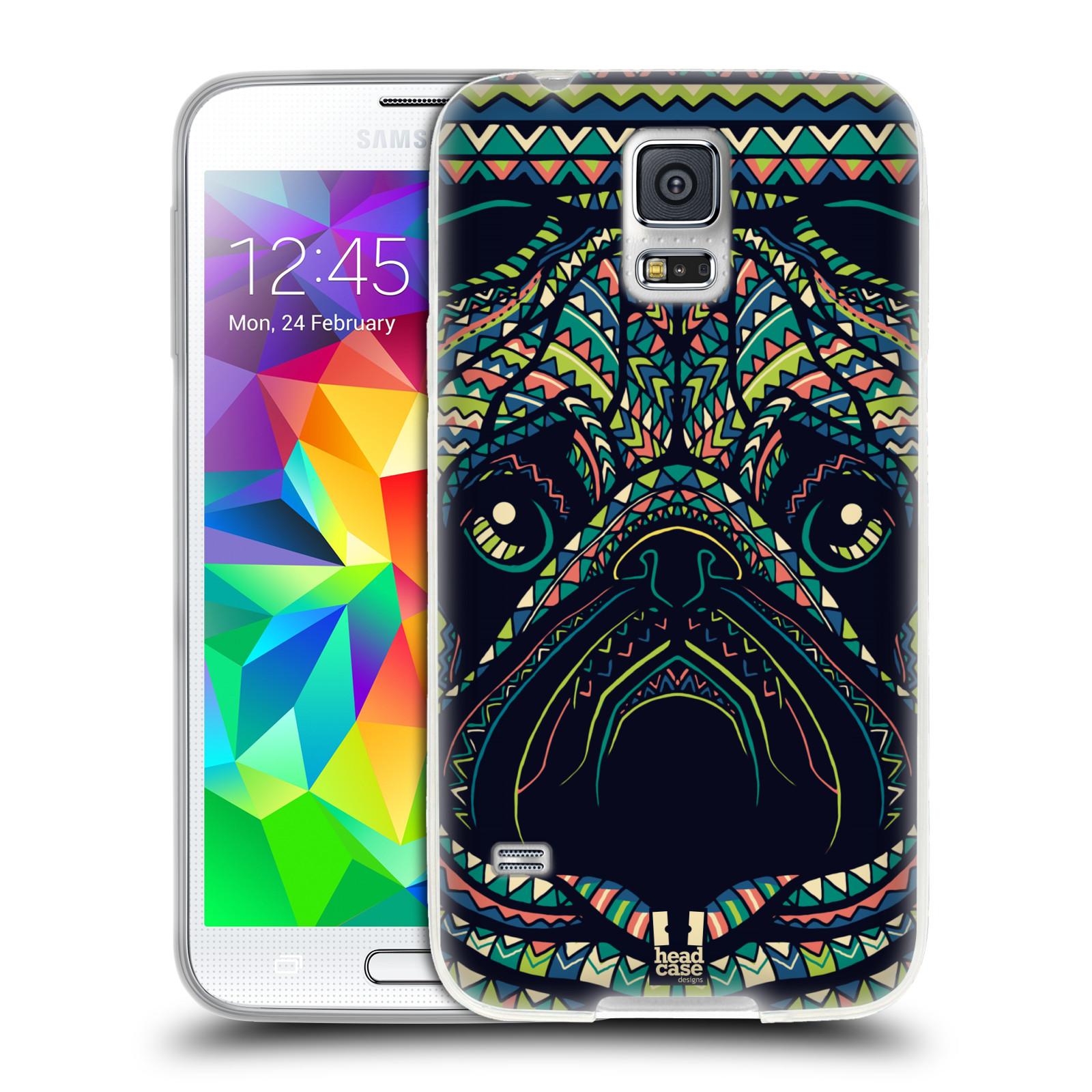 HEAD CASE silikonový obal na mobil Samsung Galaxy S5/S5 NEO vzor Aztécký motiv zvíře 3 mopsík
