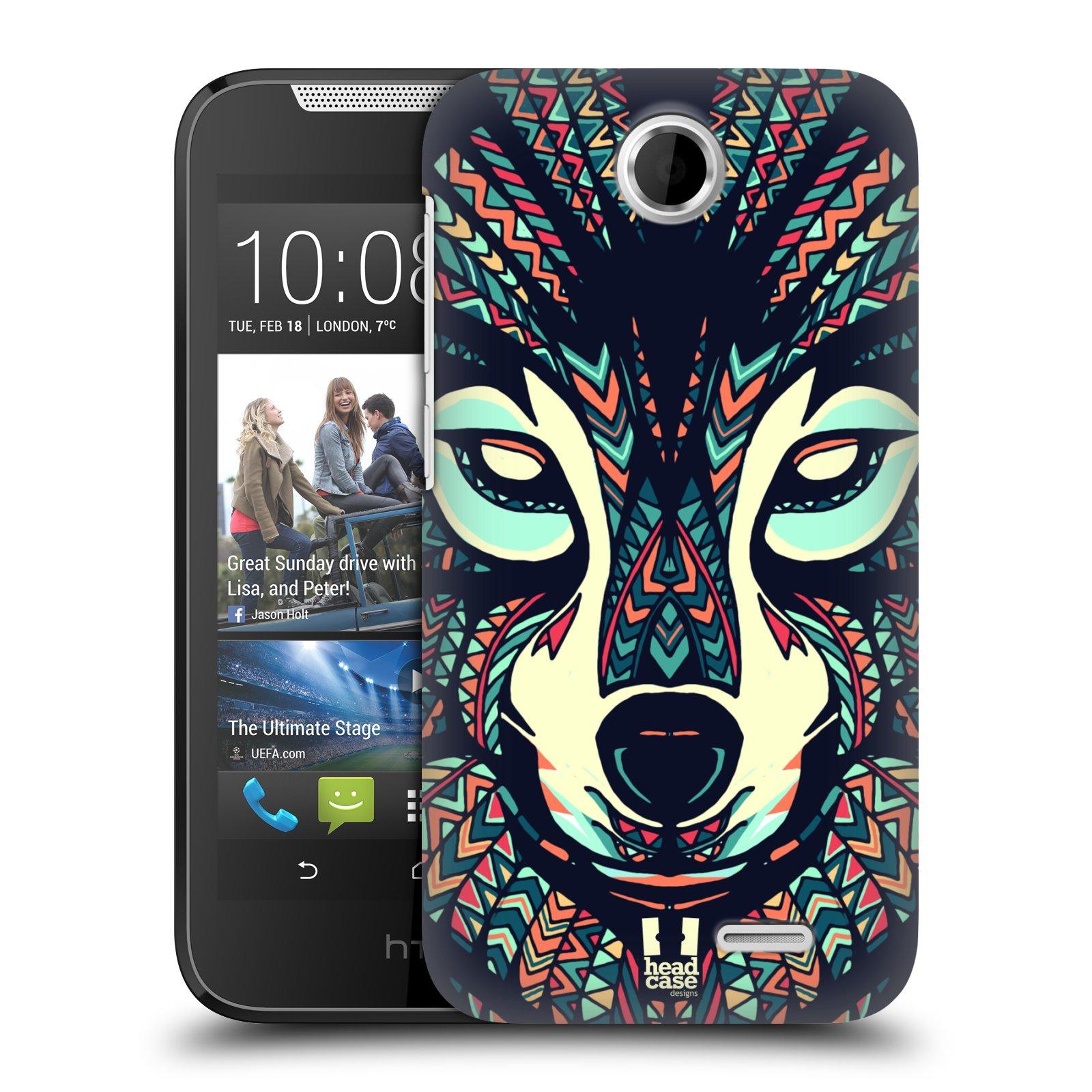 HEAD CASE plastový obal na mobil HTC Desire 310 vzor Aztécký motiv zvíře 3 vlk