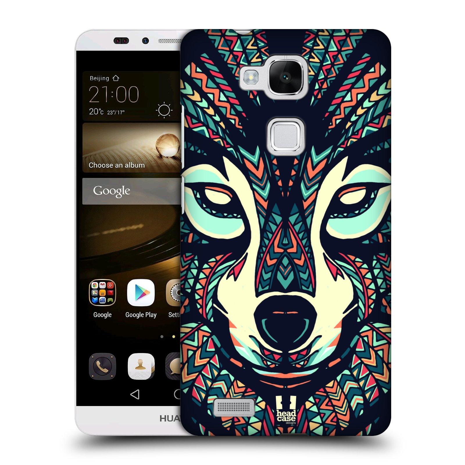 HEAD CASE plastový obal na mobil Huawei Mate 7 vzor Aztécký motiv zvíře 3 vlk