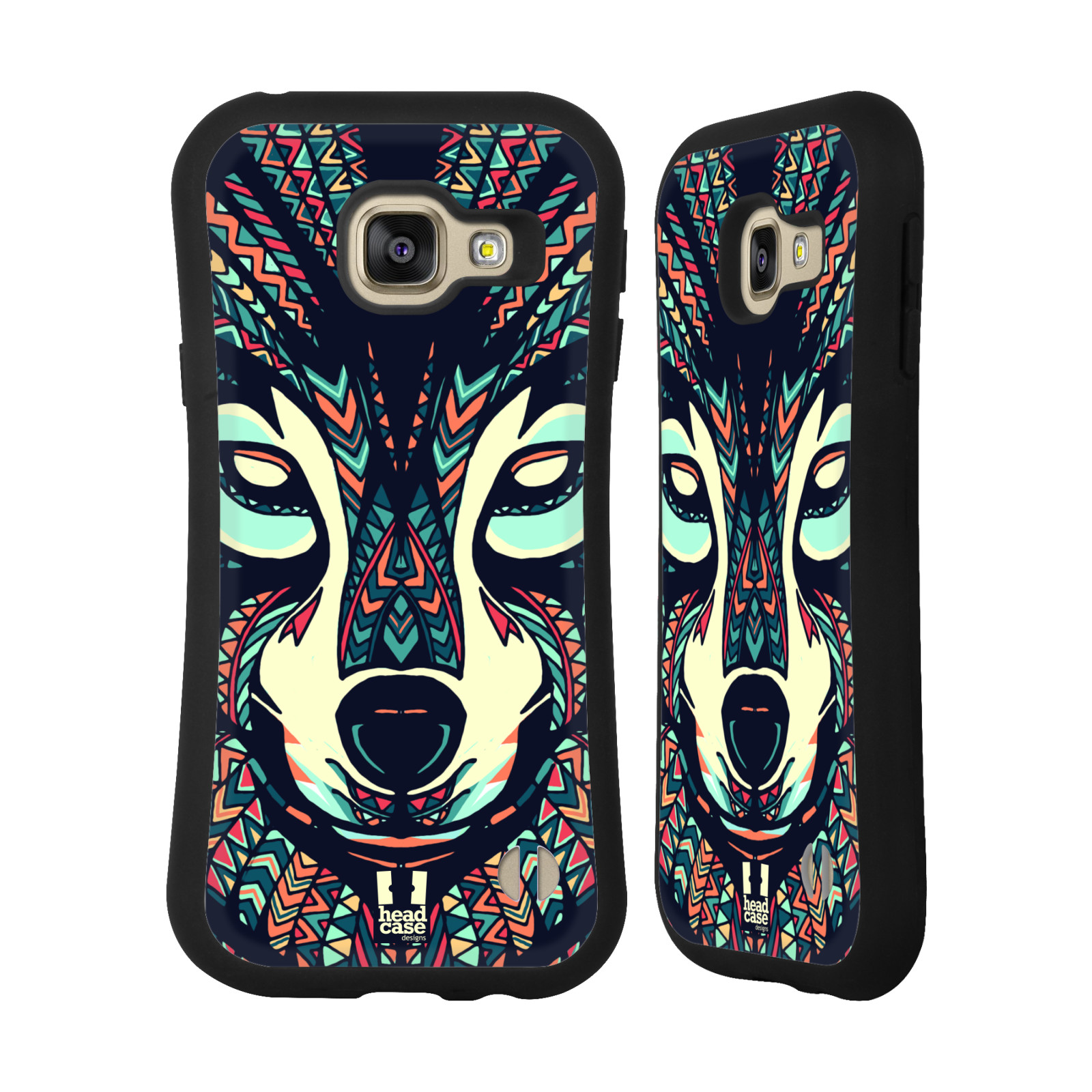 HEAD CASE silikon/plast odolný obal na mobil Samsung Galaxy A3 2016 vzor Aztécký motiv zvíře 3 vlk