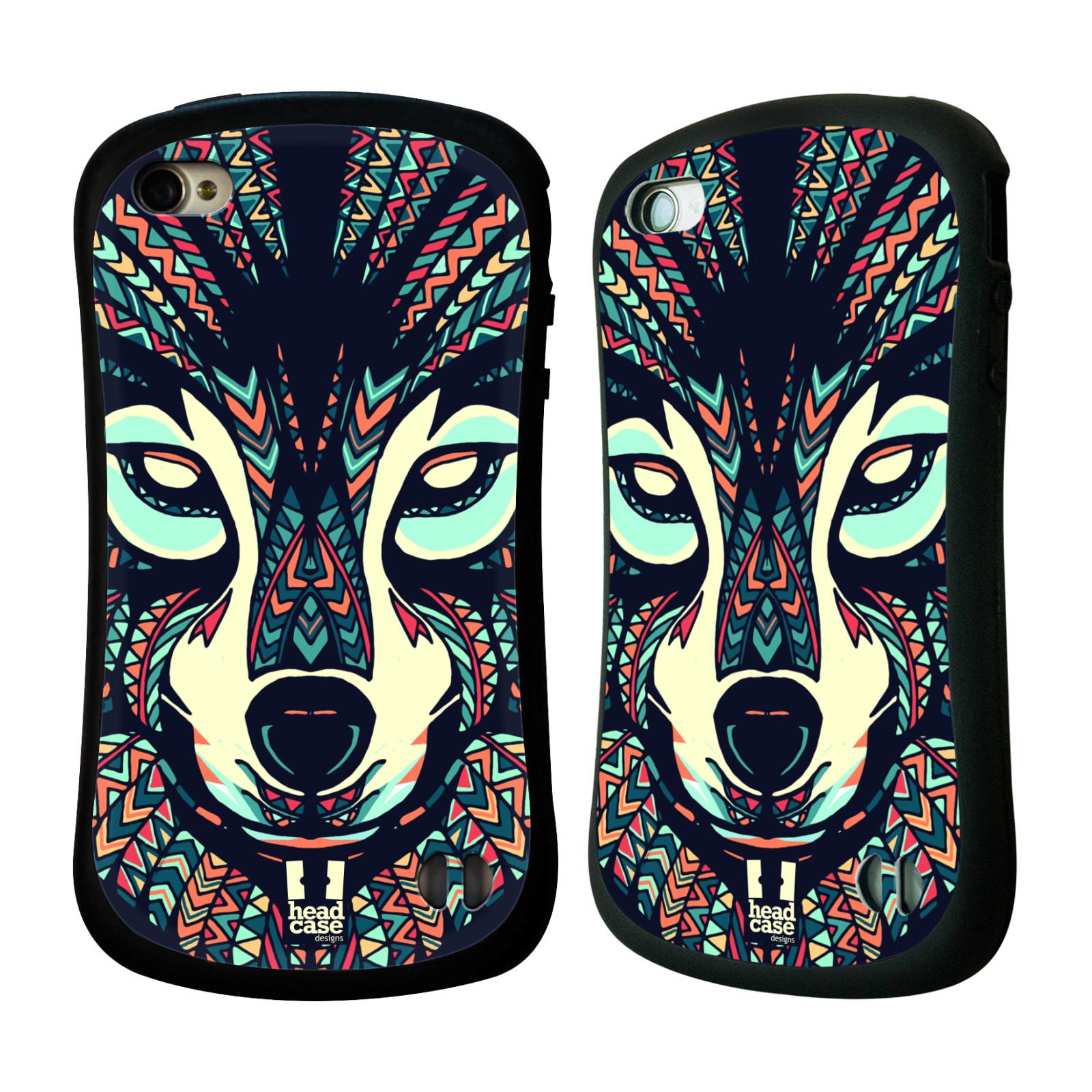 HEAD CASE silikon/plast odolný obal na mobil Apple Iphone 4/4S vzor Aztécký motiv zvíře 3 vlk