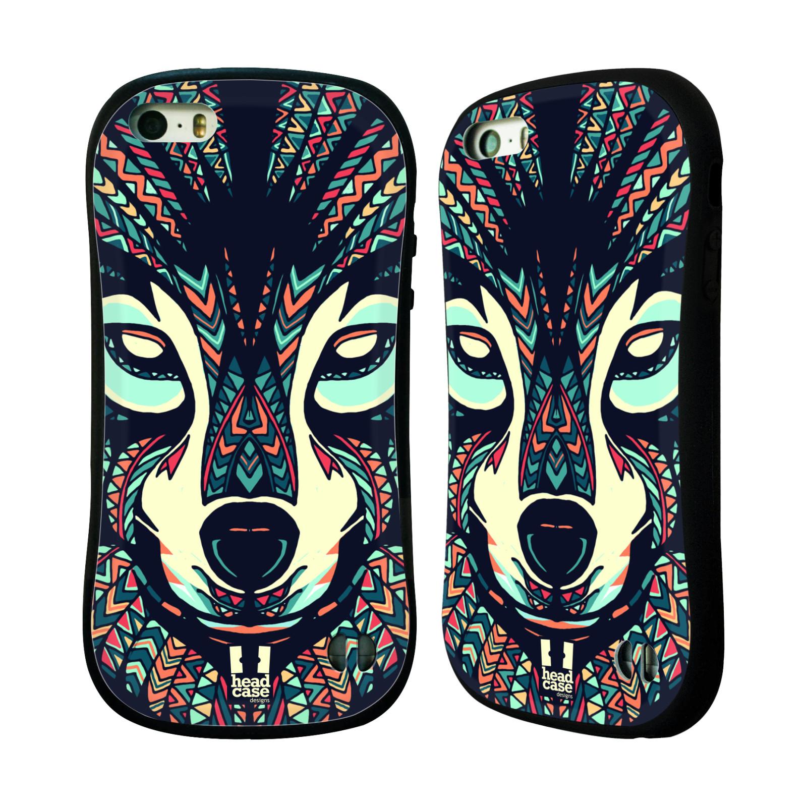 HEAD CASE silikon/plast odolný obal na mobil Apple Iphone 5/5S vzor Aztécký motiv zvíře 3 vlk